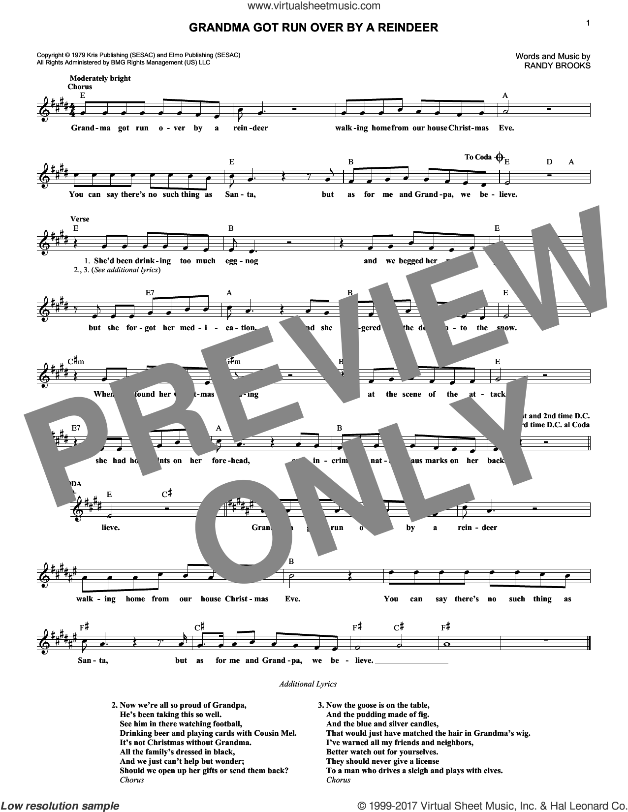 Grandma Got Run Over By A Reindeer sheet music for voice and other instruments (fake book) by Randy Brooks, intermediate skill level