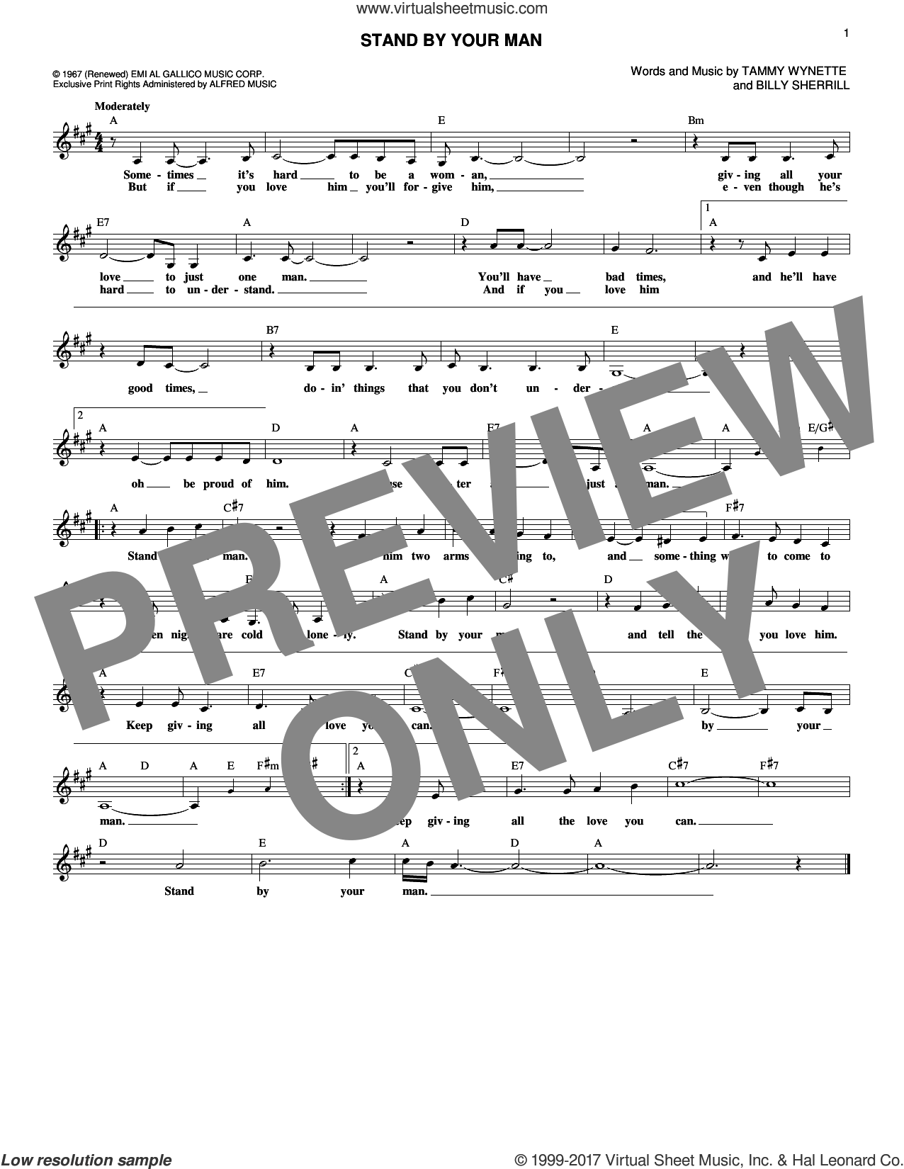 Stand By Your Man sheet music for voice and other instruments (fake book) by Tammy Wynette and Billy Sherrill, intermediate skill level