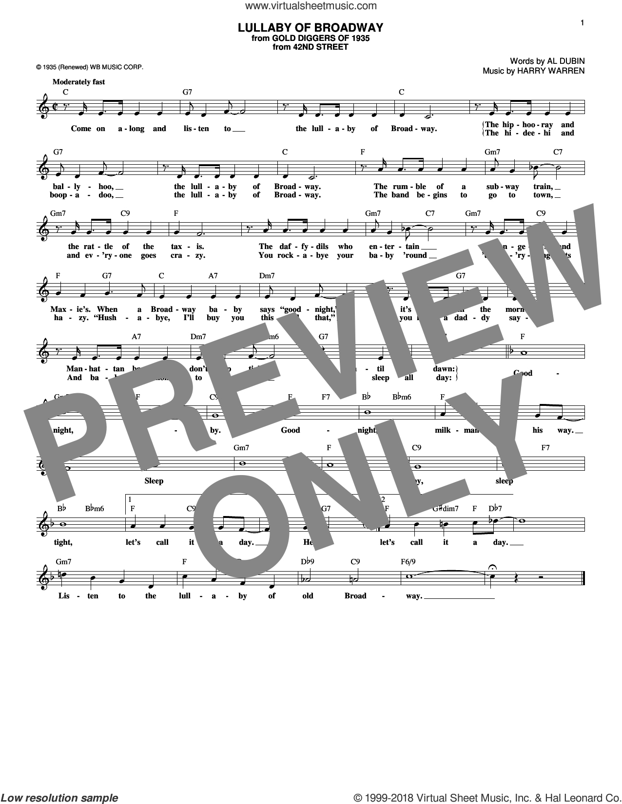 Lullaby Of Broadway sheet music for voice and other instruments (fake book) by Al Dubin and Harry Warren, intermediate skill level