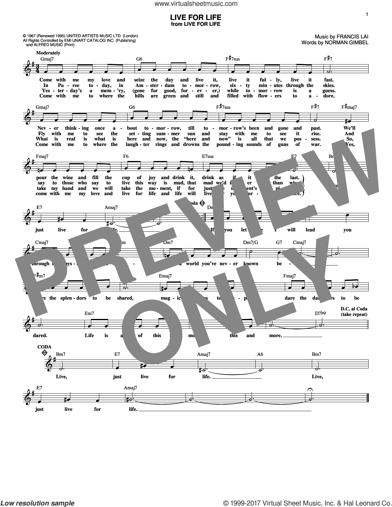 Live For Life sheet music for voice and other instruments (fake book) by Francis Lai and Norman Gimbel, intermediate skill level