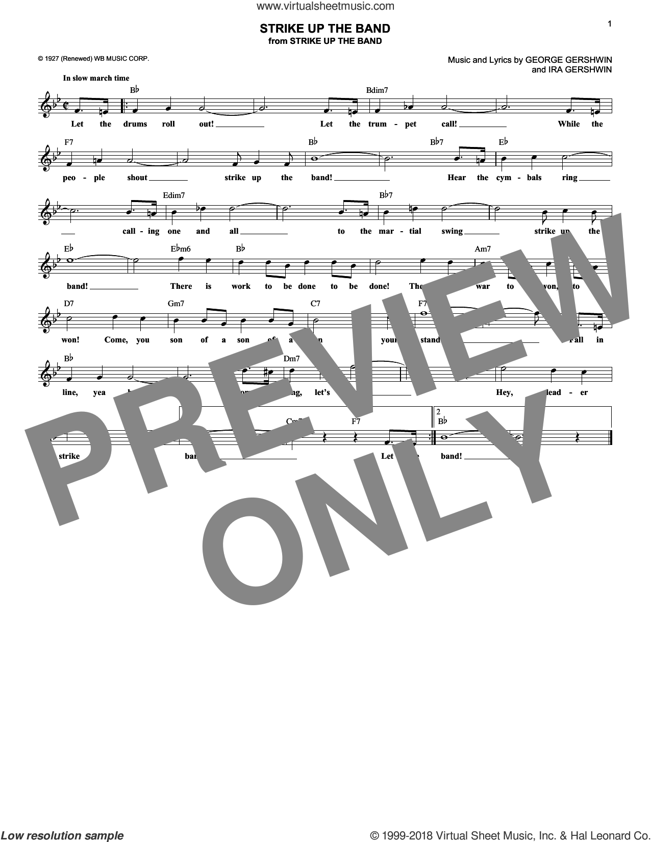 Strike Up The Band sheet music for voice and other instruments (fake book) by George Gershwin and Ira Gershwin, intermediate skill level