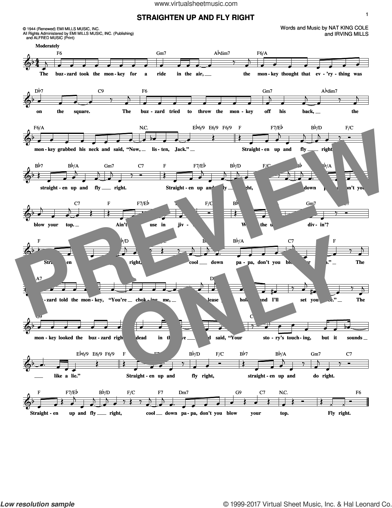 Straighten Up And Fly Right sheet music for voice and other instruments (fake book) by Nat King Cole and Irving Mills, intermediate skill level