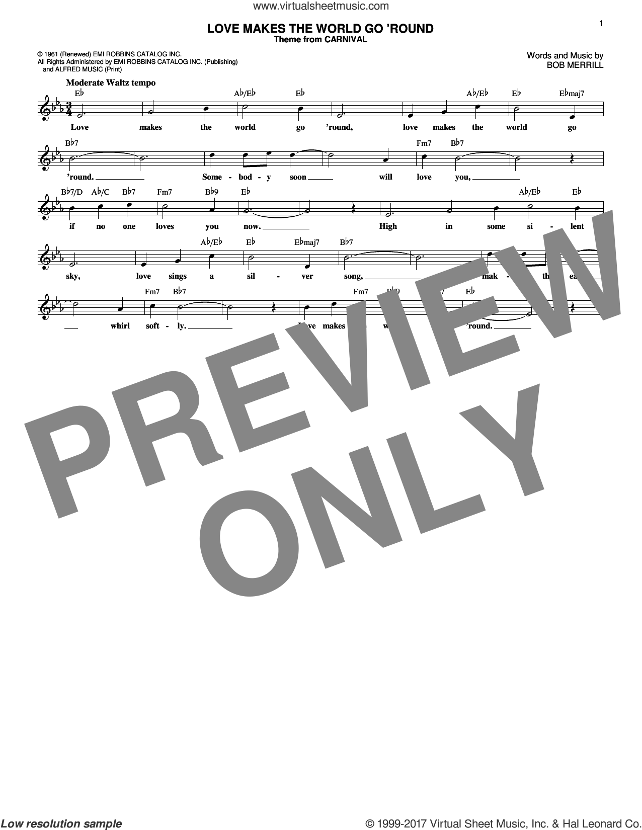 Love Makes The World Go 'round sheet music for voice and other instruments (fake book) by Bob Merrill, intermediate skill level