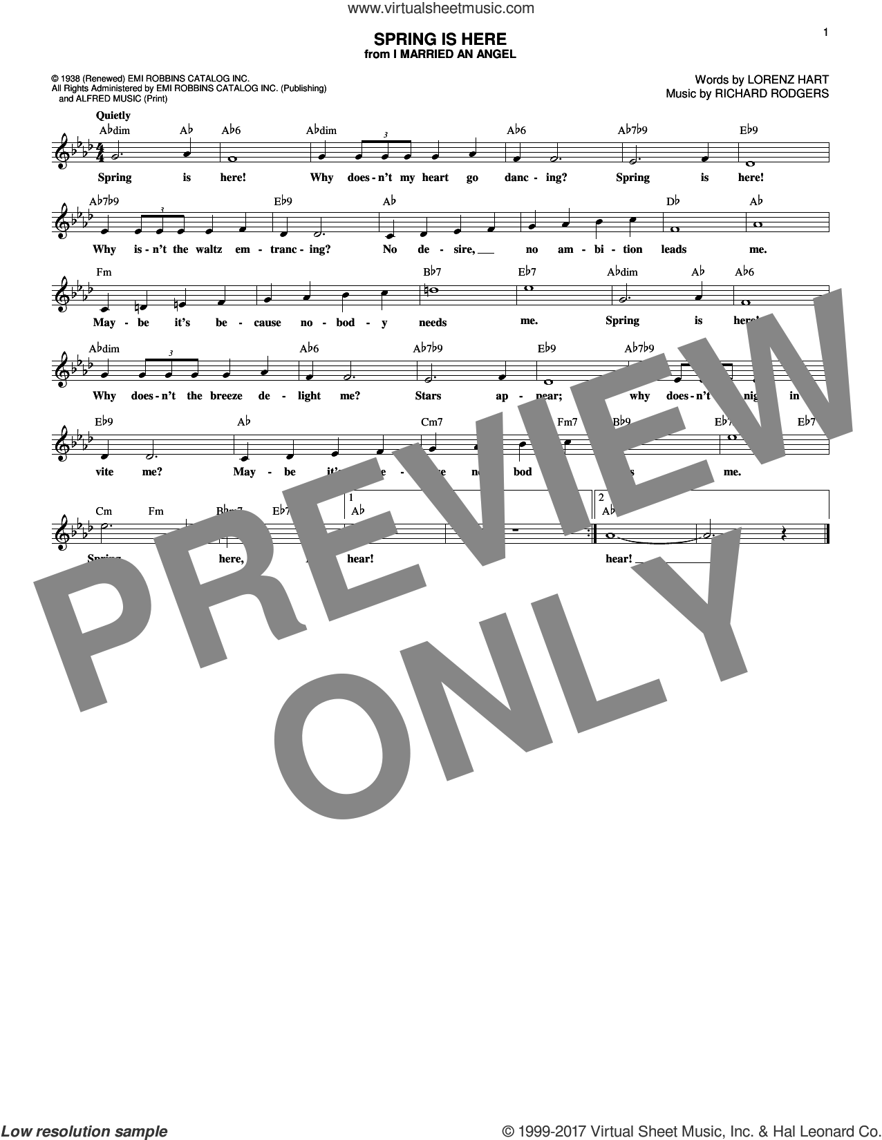 Spring Is Here sheet music for voice and other instruments (fake book) by Rodgers & Hart, Lorenz Hart and Richard Rodgers, intermediate. Score Image Preview.