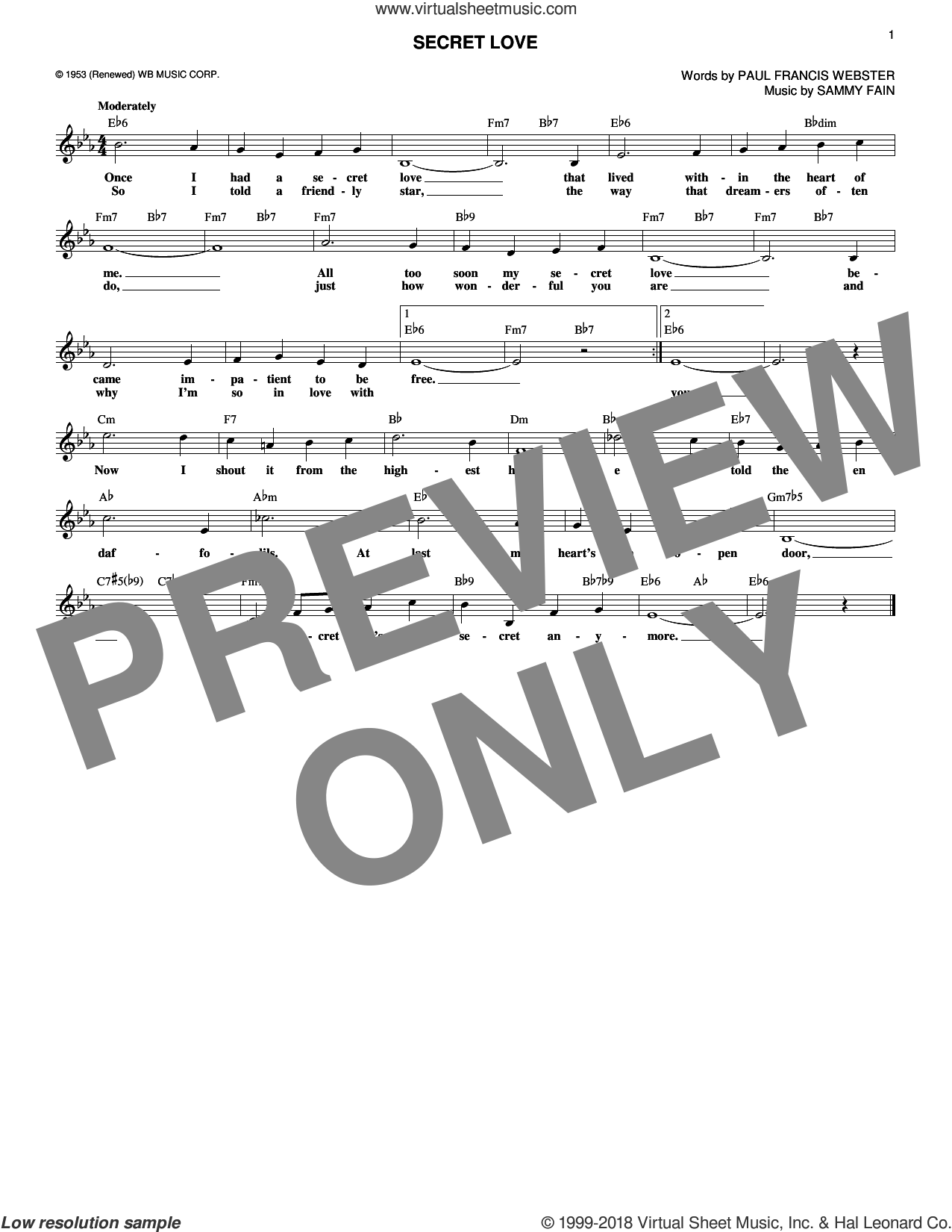 Secret Love sheet music for voice and other instruments (fake book) by Sammy Fain and Paul Francis Webster, intermediate skill level