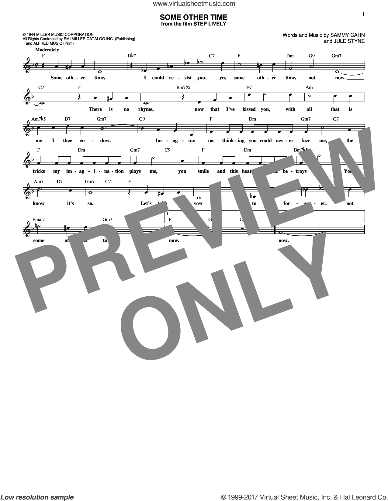 Some Other Time sheet music for voice and other instruments (fake book) by Sammy Cahn and Jule Styne. Score Image Preview.