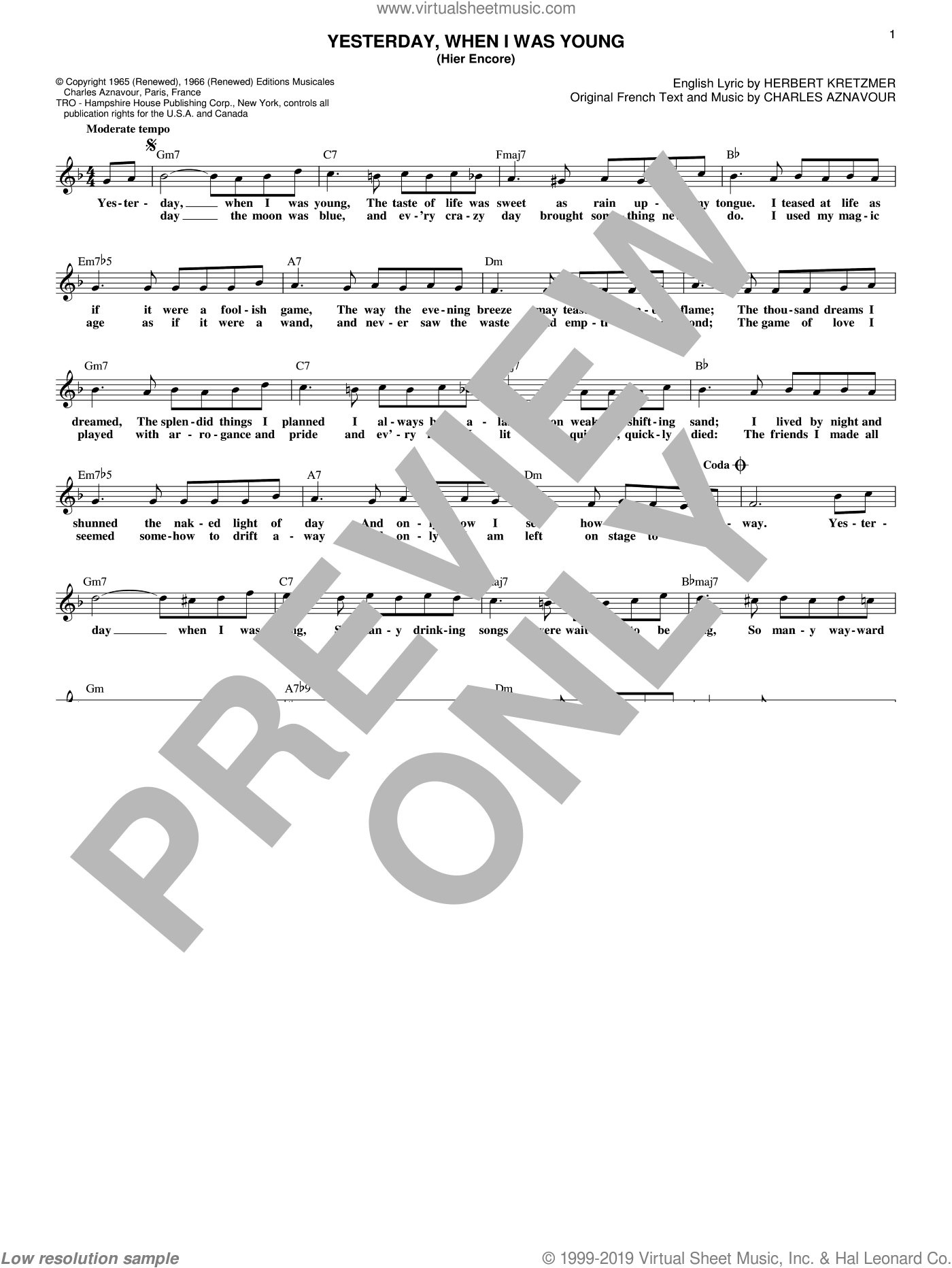 Yesterday, When I Was Young (Hier Encore) sheet music for voice and other instruments (fake book) by Roy Clark, Charles Aznavour and Herbert Kretzmer, intermediate skill level