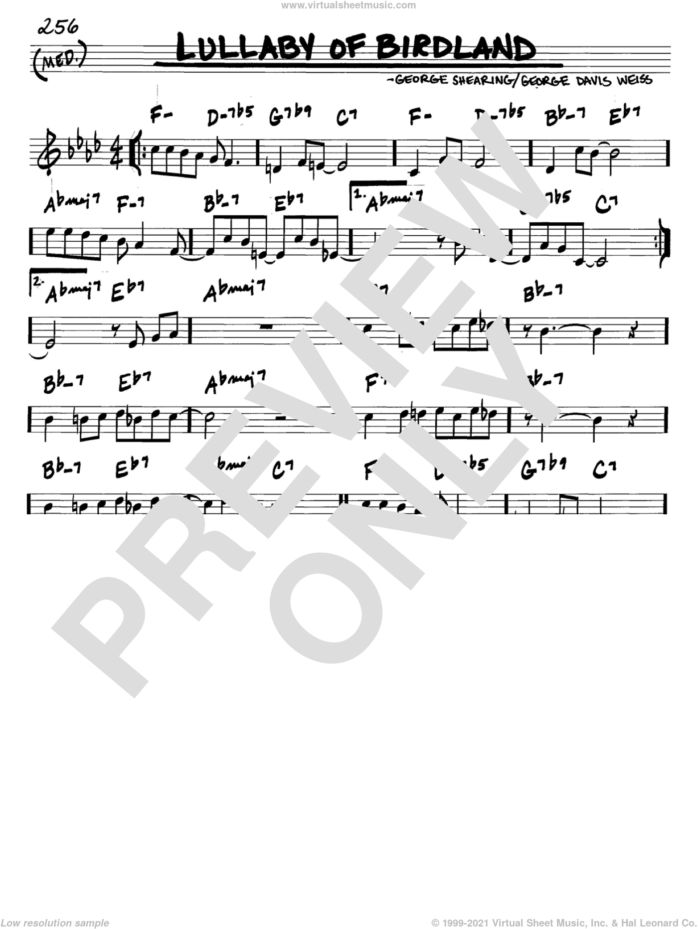 Lullaby Of Birdland sheet music for voice and other instruments (C) by George David Weiss and George Shearing. Score Image Preview.