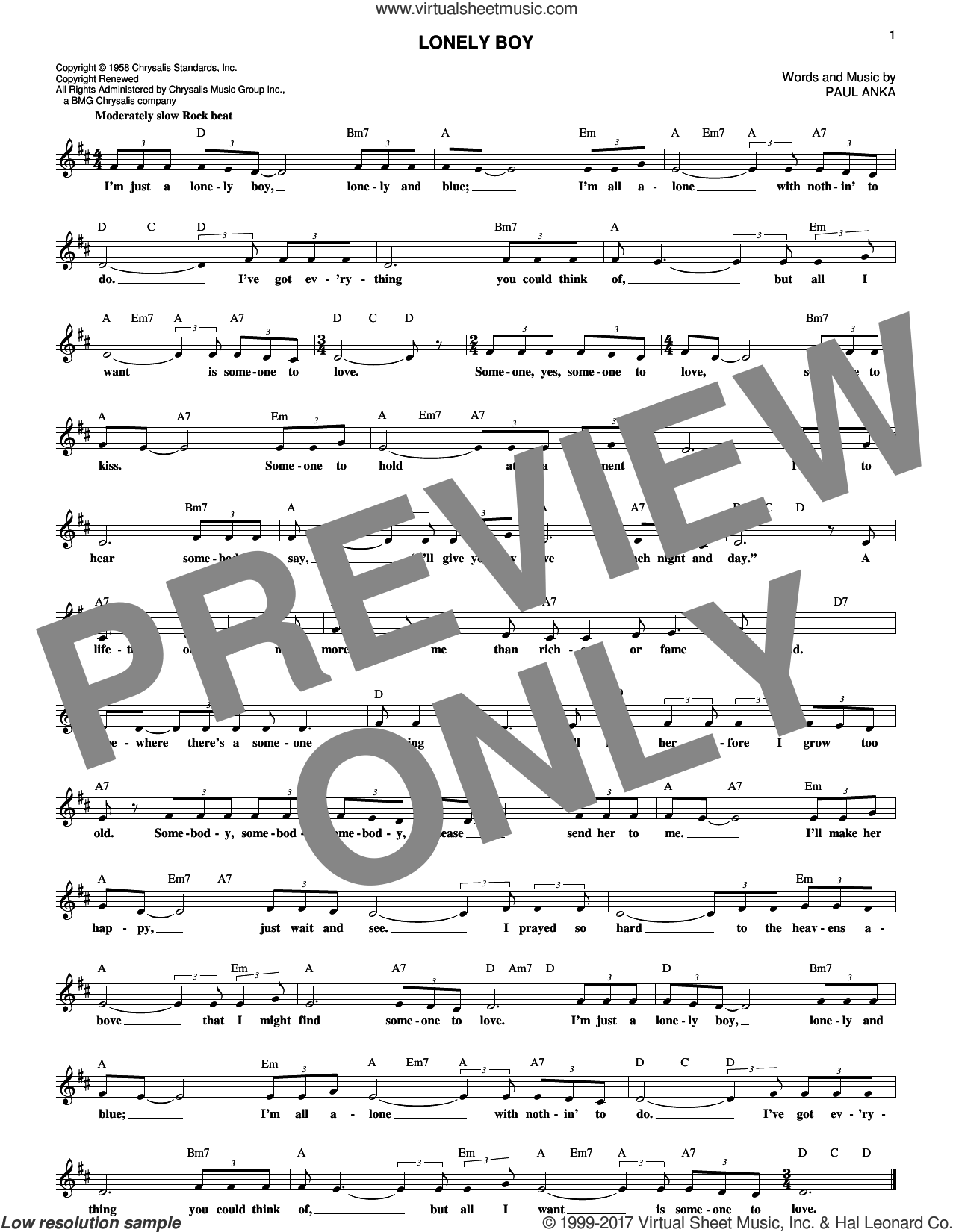 Lonely Boy sheet music for voice and other instruments (fake book) by Paul Anka, intermediate skill level