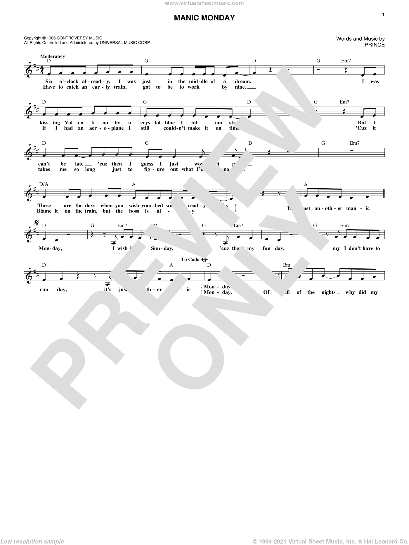 Manic Monday sheet music for voice and other instruments (fake book) by Prince and The Bangles, intermediate skill level