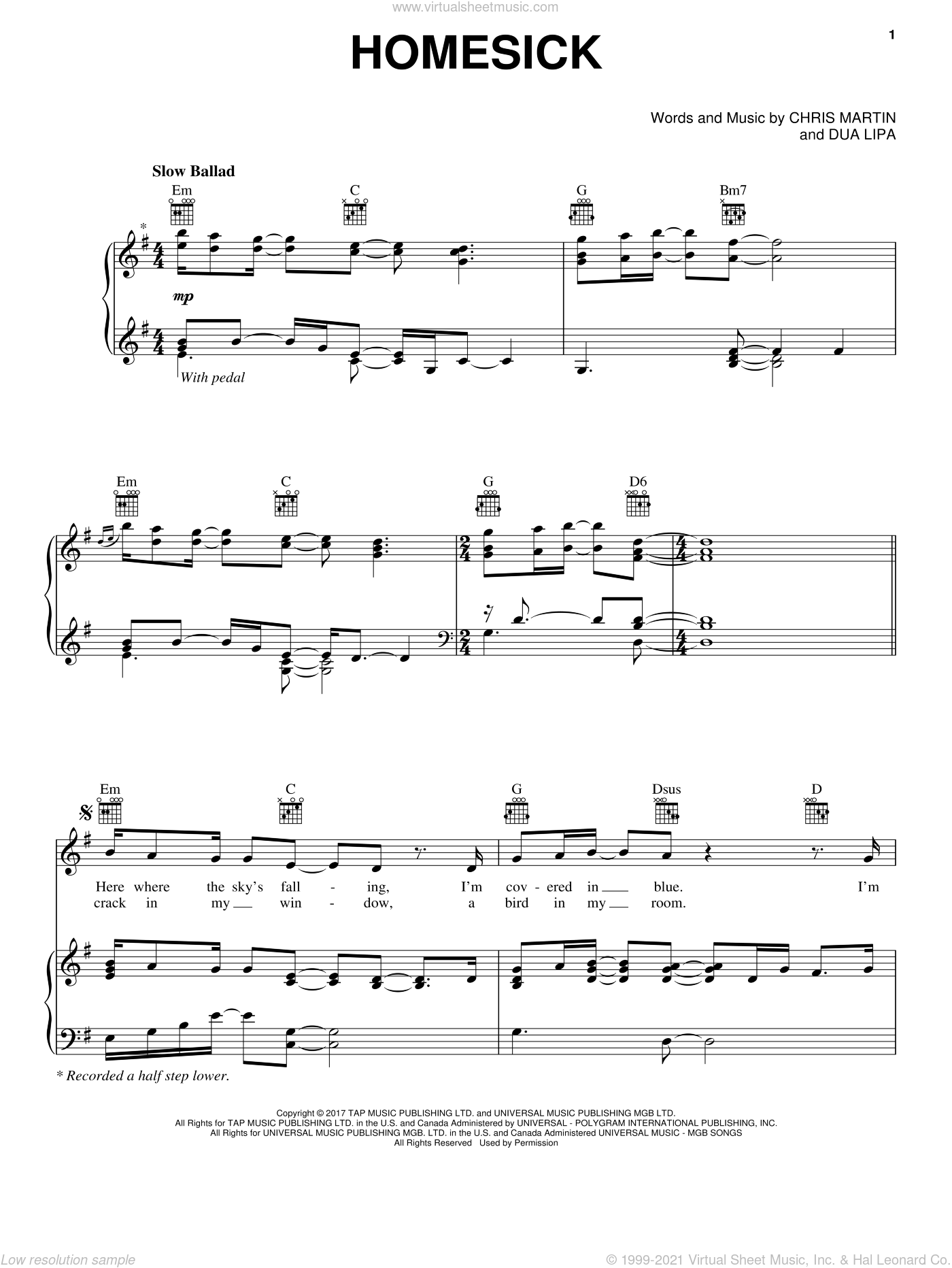 Homesick sheet music for voice, piano or guitar by Dua Lipa feat. Chris Martin, Chris Martin and Dua Lipa, intermediate skill level