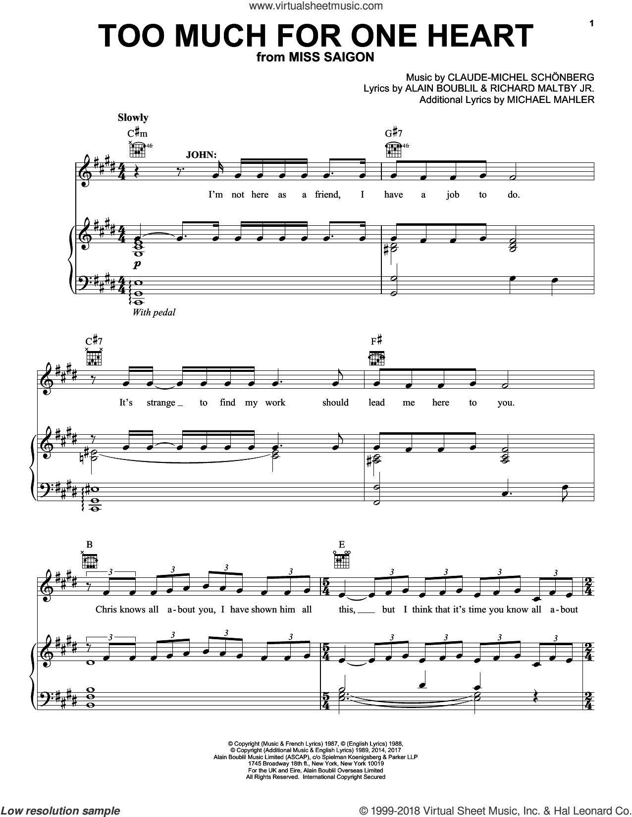 Too Much For One Heart sheet music for voice, piano or guitar by Claude-Michel Schonberg, Alain Boublil, Claude-Michel Schonberg, Michael Mahler and Richard Maltby, Jr., intermediate skill level