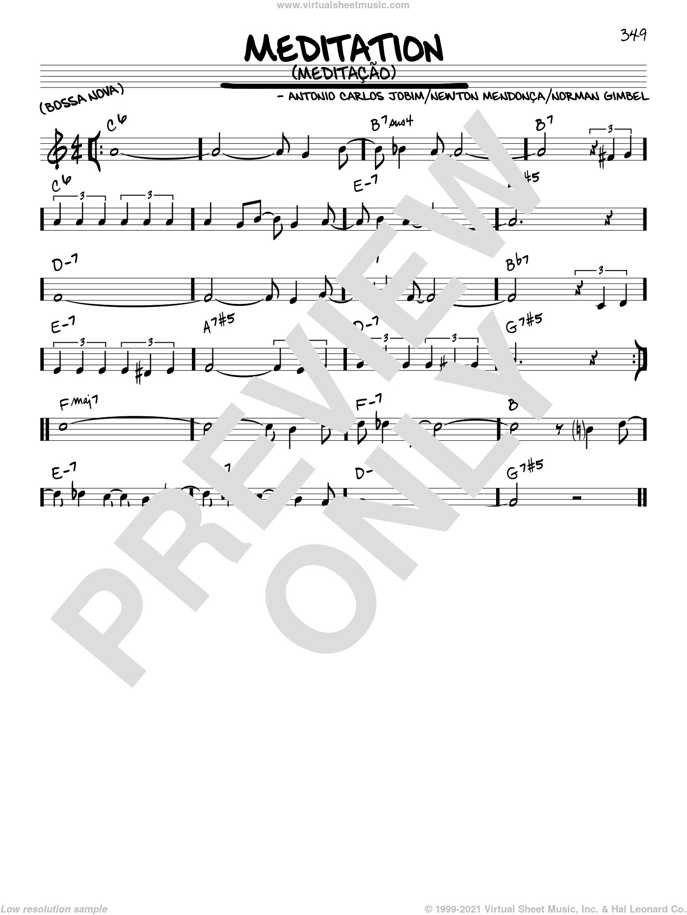Meditation (Meditacao) sheet music for voice and other instruments (C) by Newton Mendonca
