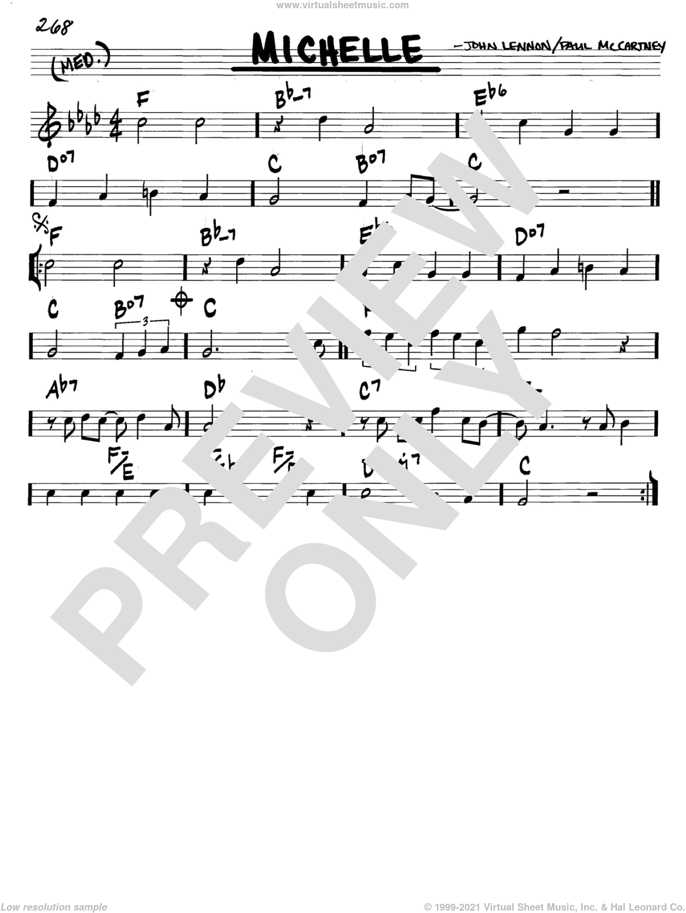 Michelle sheet music for voice and other instruments (in C) by The Beatles, John Lennon and Paul McCartney, intermediate. Score Image Preview.
