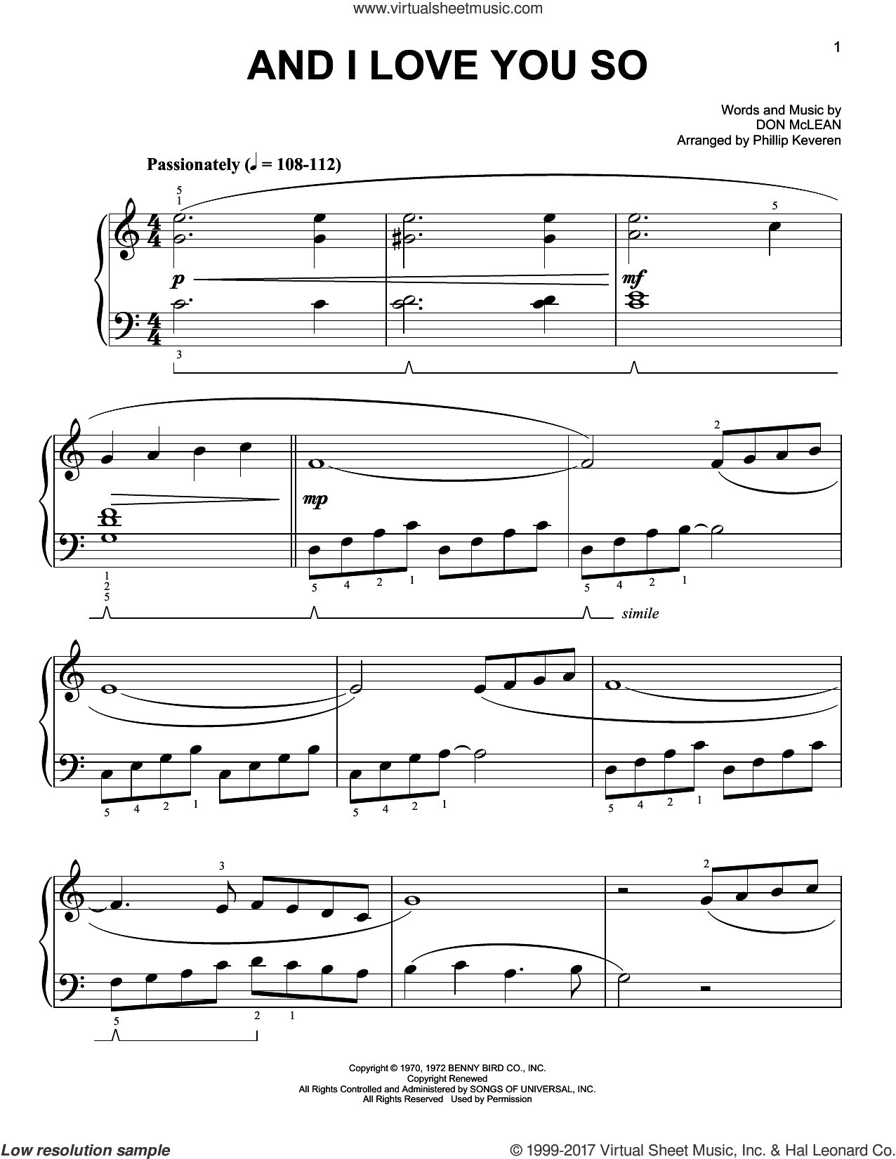 And I Love You So sheet music for piano solo by Don McLean, Phillip Keveren, Bobby Goldsboro and Perry Como, easy skill level