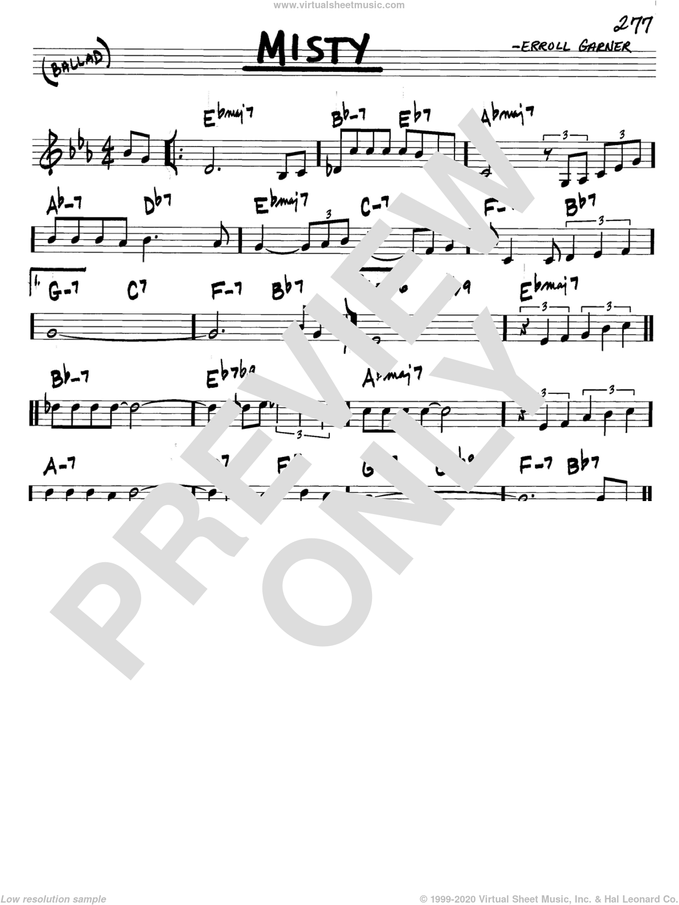 Misty sheet music for voice and other instruments (C) by John Burke, Johnny Mathis and Erroll Garner. Score Image Preview.
