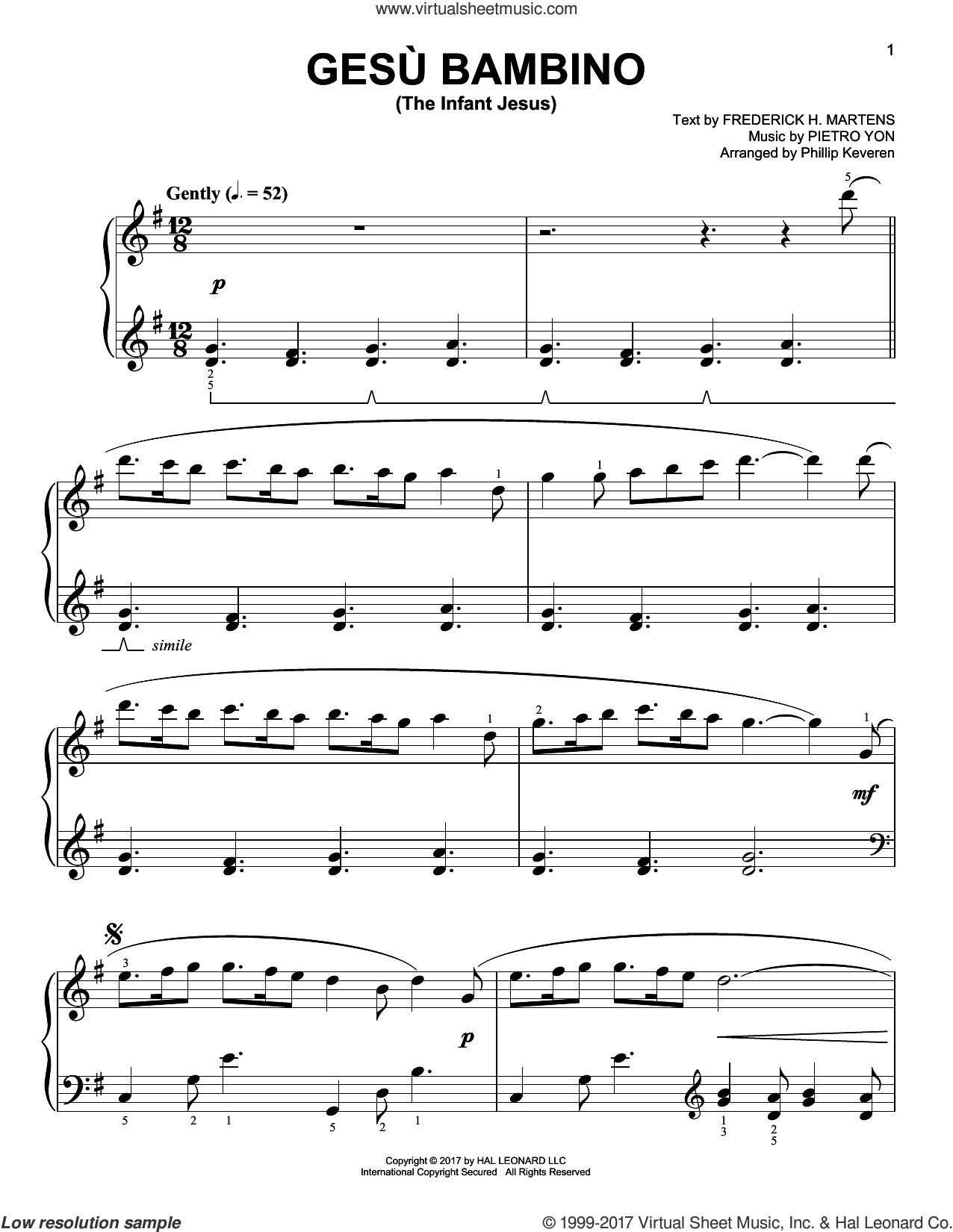 Gesu Bambino (The Infant Jesus) sheet music for piano solo by Frederick H. Martens, Phillip Keveren and Pietro Yon. Score Image Preview.