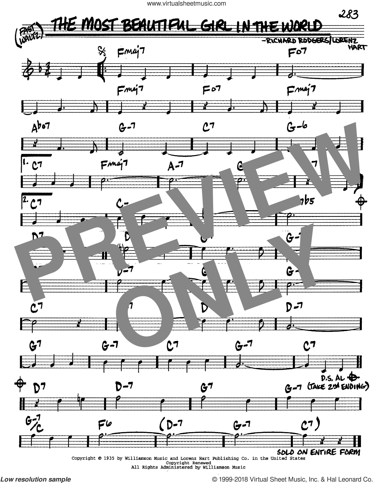 The Most Beautiful Girl In The World sheet music for voice and other instruments (C) by Richard Rodgers, Rodgers & Hart and Lorenz Hart. Score Image Preview.
