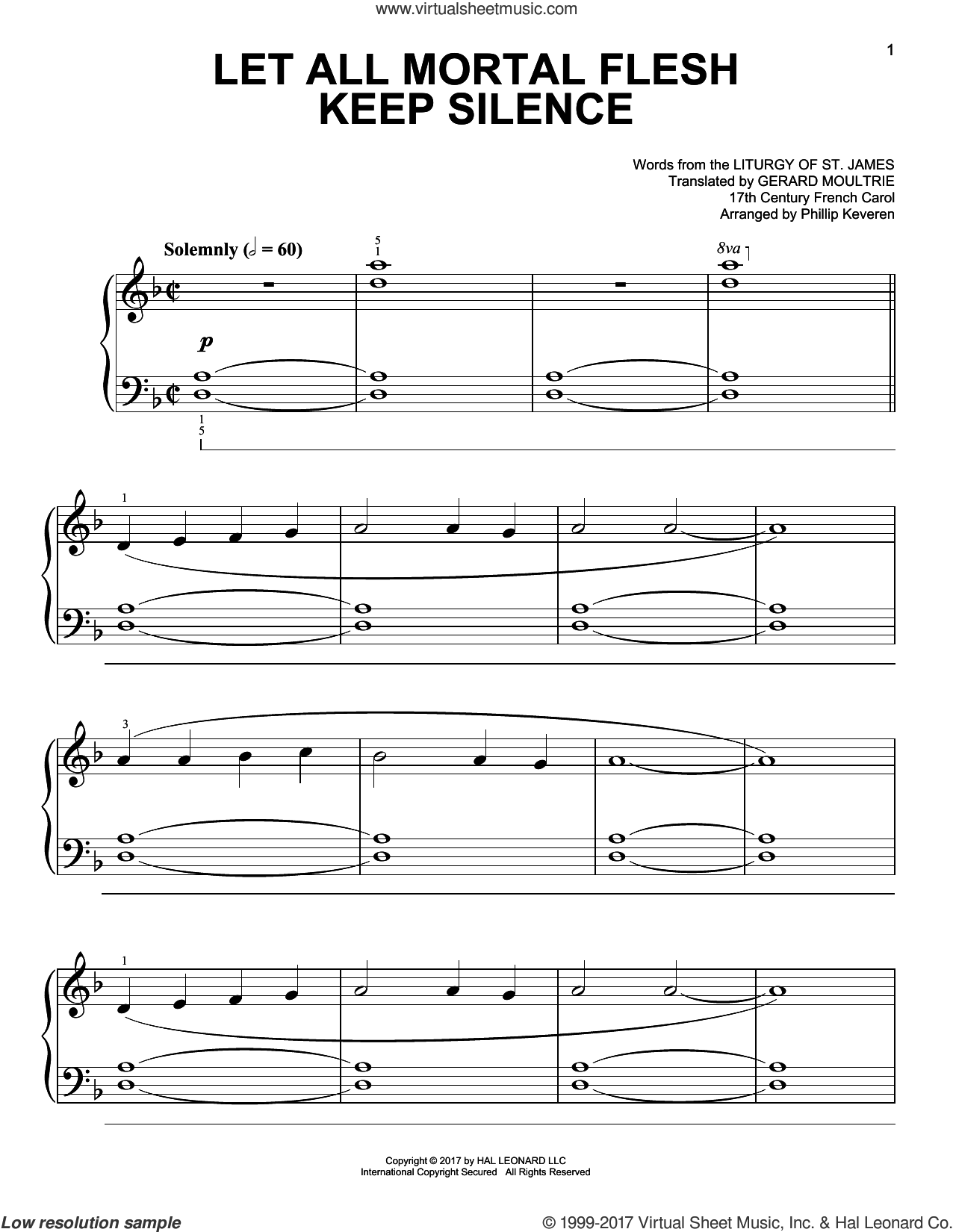 Let All Mortal Flesh Keep Silence sheet music for piano solo by Phillip Keveren, Gerard Moultrie, Liturgy Of St. James and Miscellaneous, easy