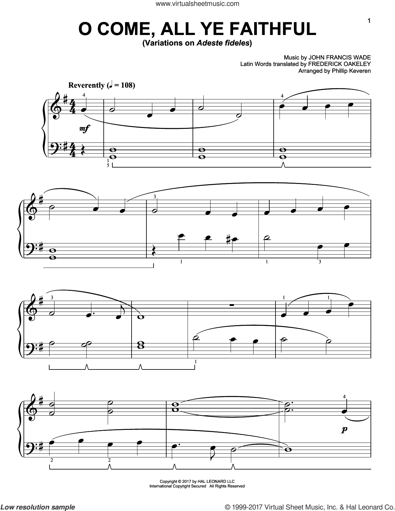 O Come, All Ye Faithful [Classical version] (arr. Phillip Keveren) sheet music for piano solo by John Francis Wade, Phillip Keveren and Frederick Oakeley (English), easy skill level
