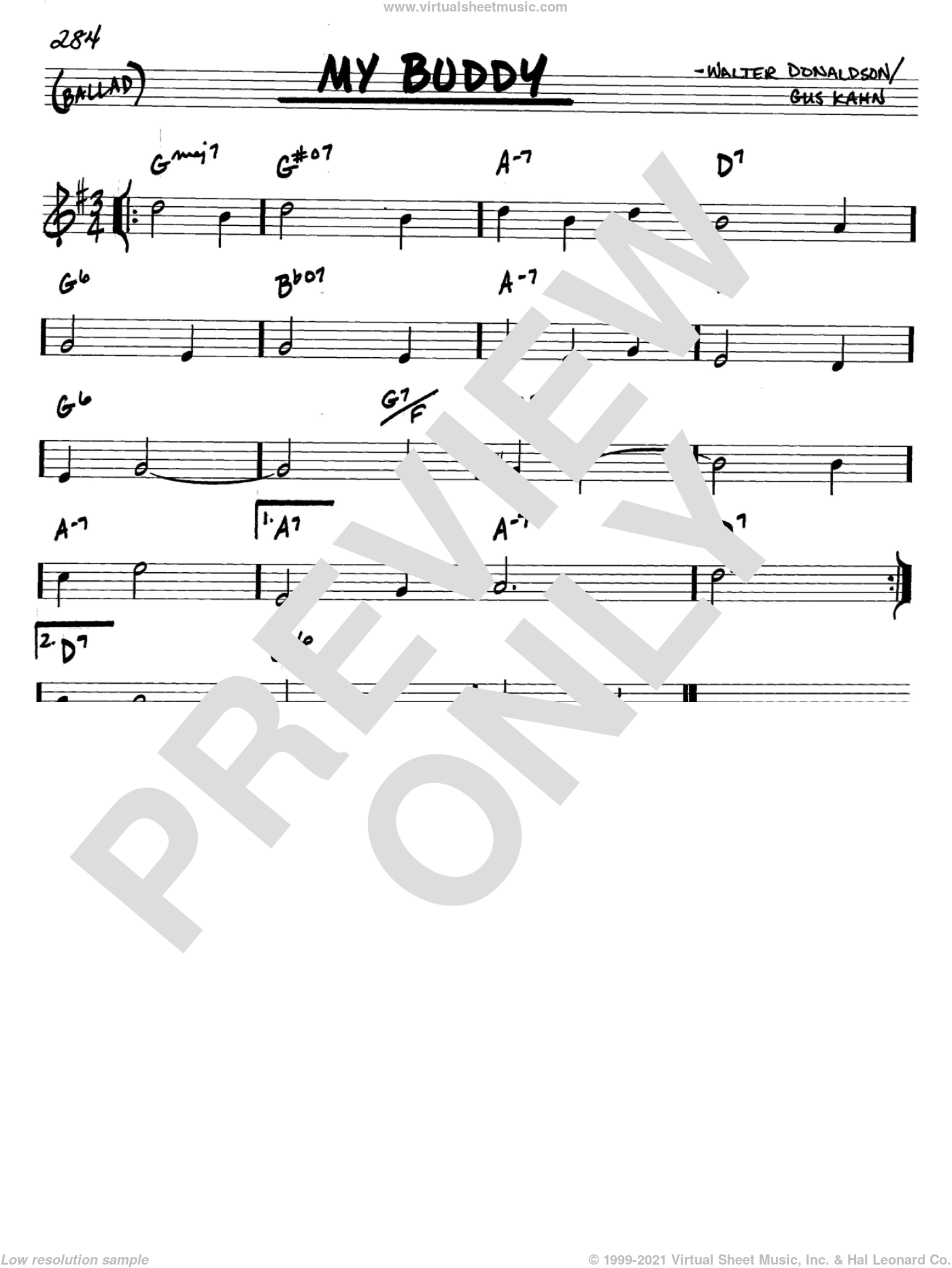 My Buddy sheet music for voice and other instruments (C) by Gus Kahn and Walter Donaldson, intermediate voice. Score Image Preview.