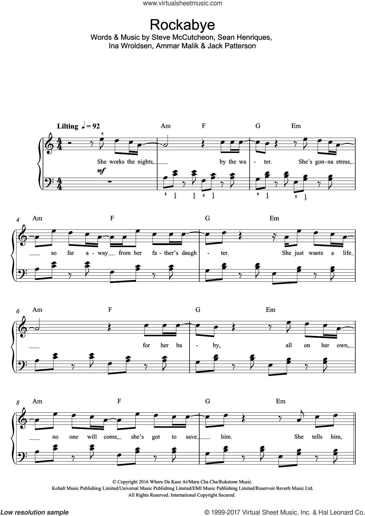 Rockabye (featuring Sean Paul and Anne-Marie) sheet music for piano solo (beginners) by Clean Bandit, Anne-Marie, Sean Paul, Ammar Malik, Ina Wroldsen, Jack Patterson, Sean Henriques and Steve McCutcheon, beginner piano (beginners)
