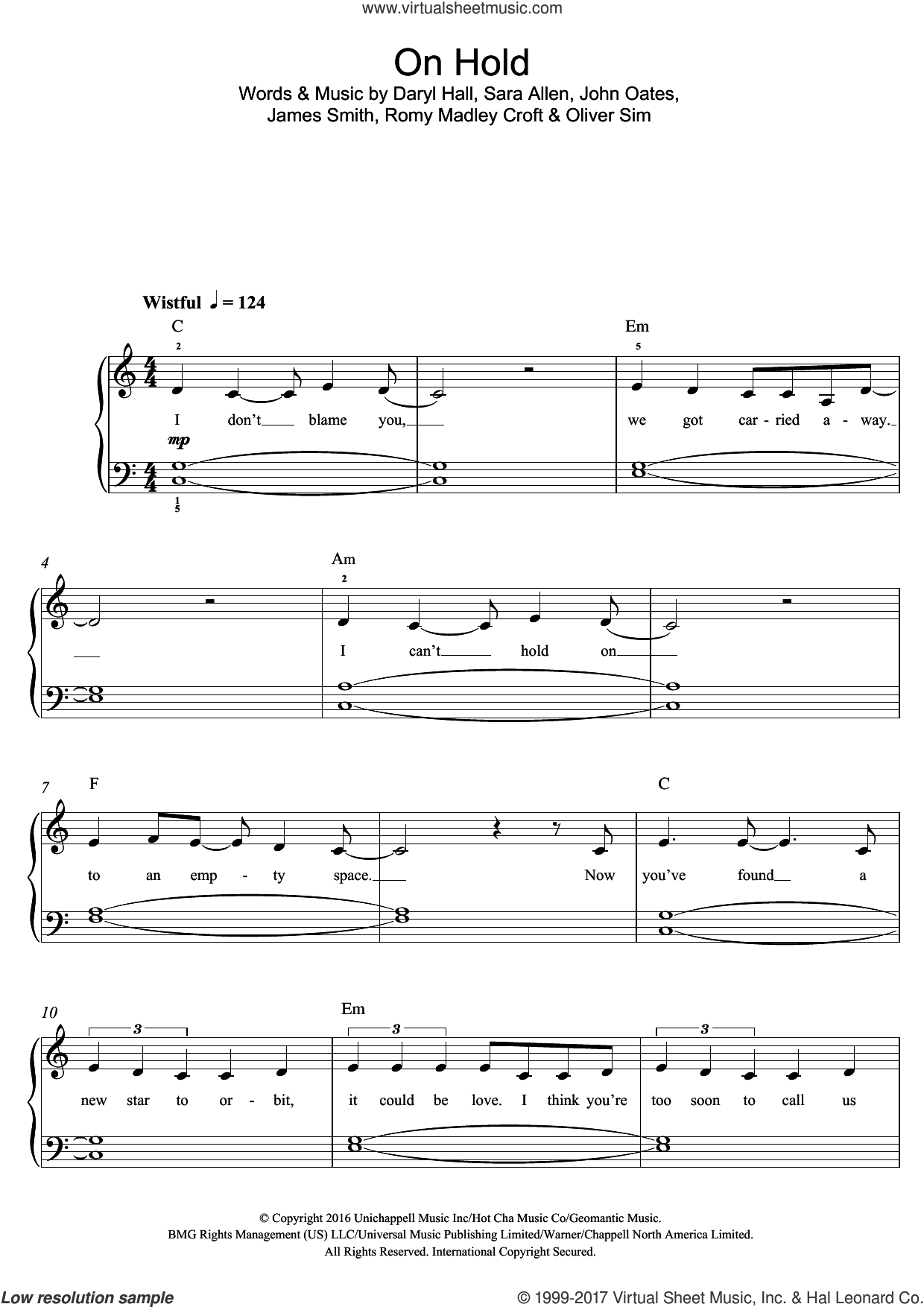 On Hold sheet music for piano solo (beginners) by The XX, Daryl Hall, James Smith, John Oates, Oliver Sim, Romy Madley Croft and Sara Allen, beginner piano (beginners)