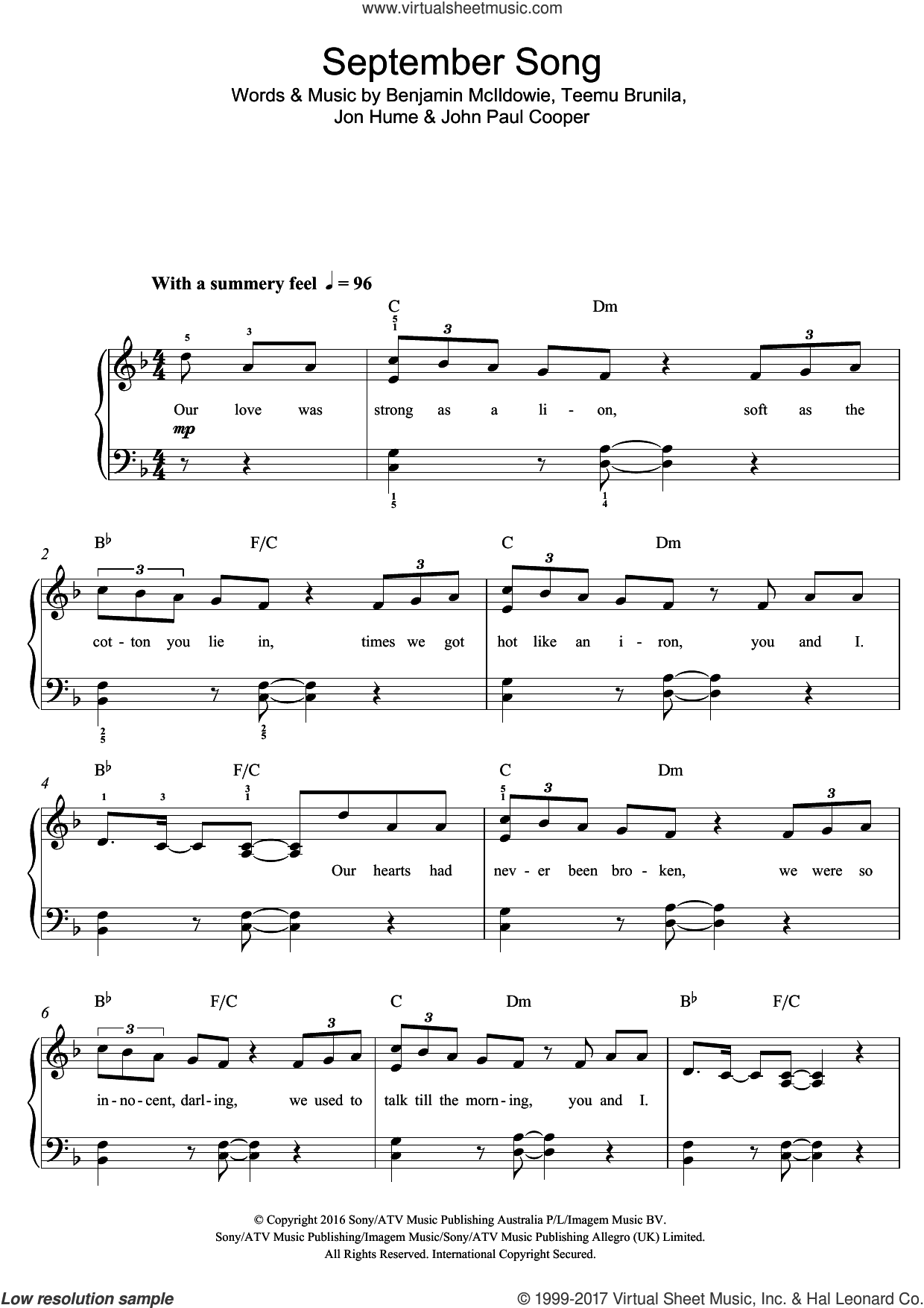 September Song sheet music for piano solo (beginners) by JP Cooper, Benjamin McIldowie, John Paul Cooper, Jon Hume and Teemu Brunila, beginner piano (beginners)