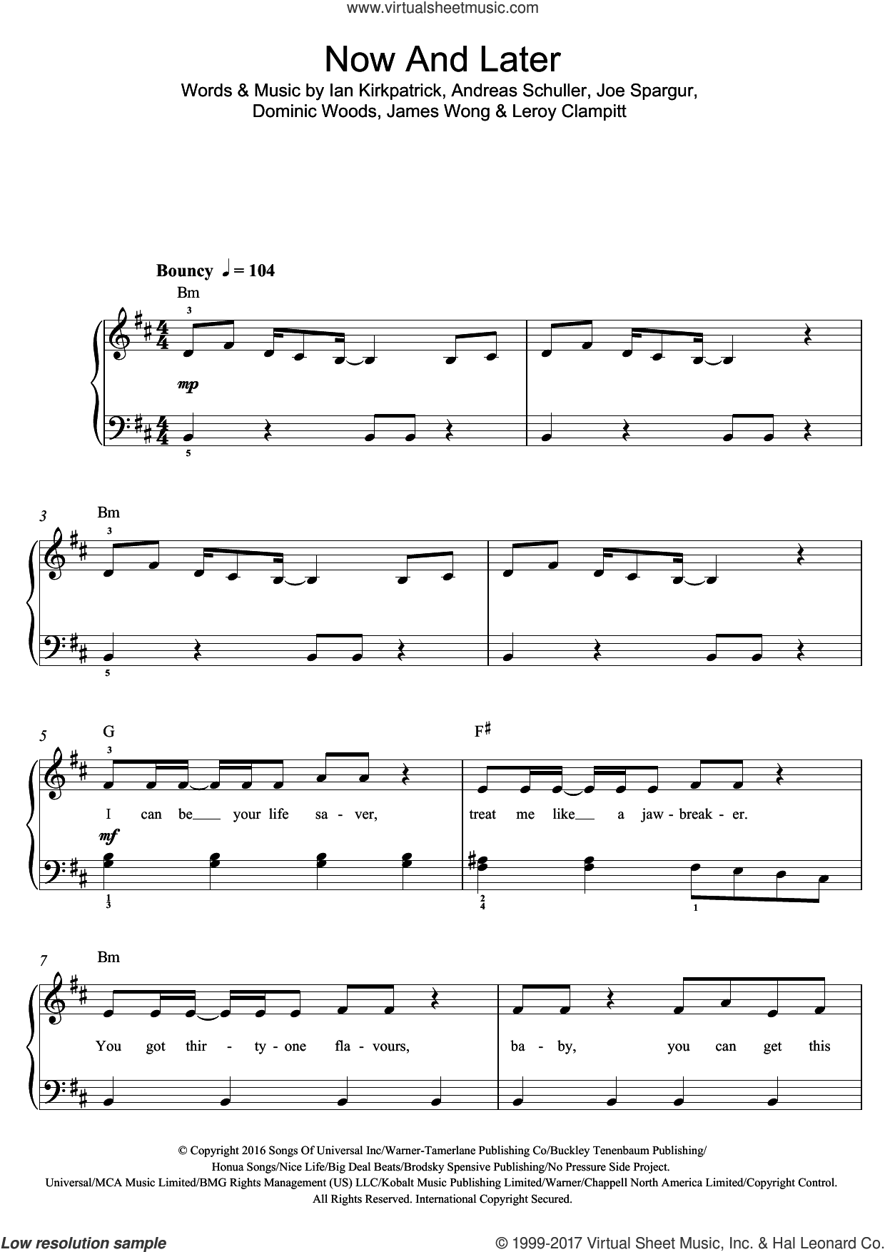 Now And Later sheet music for piano solo (beginners) by Sage the Gemini, Andreas Schuller, Dominic Woods, Ian Kirkpatrick, James Wong, Joe Spargur and Leroy Clampitt, beginner piano (beginners)