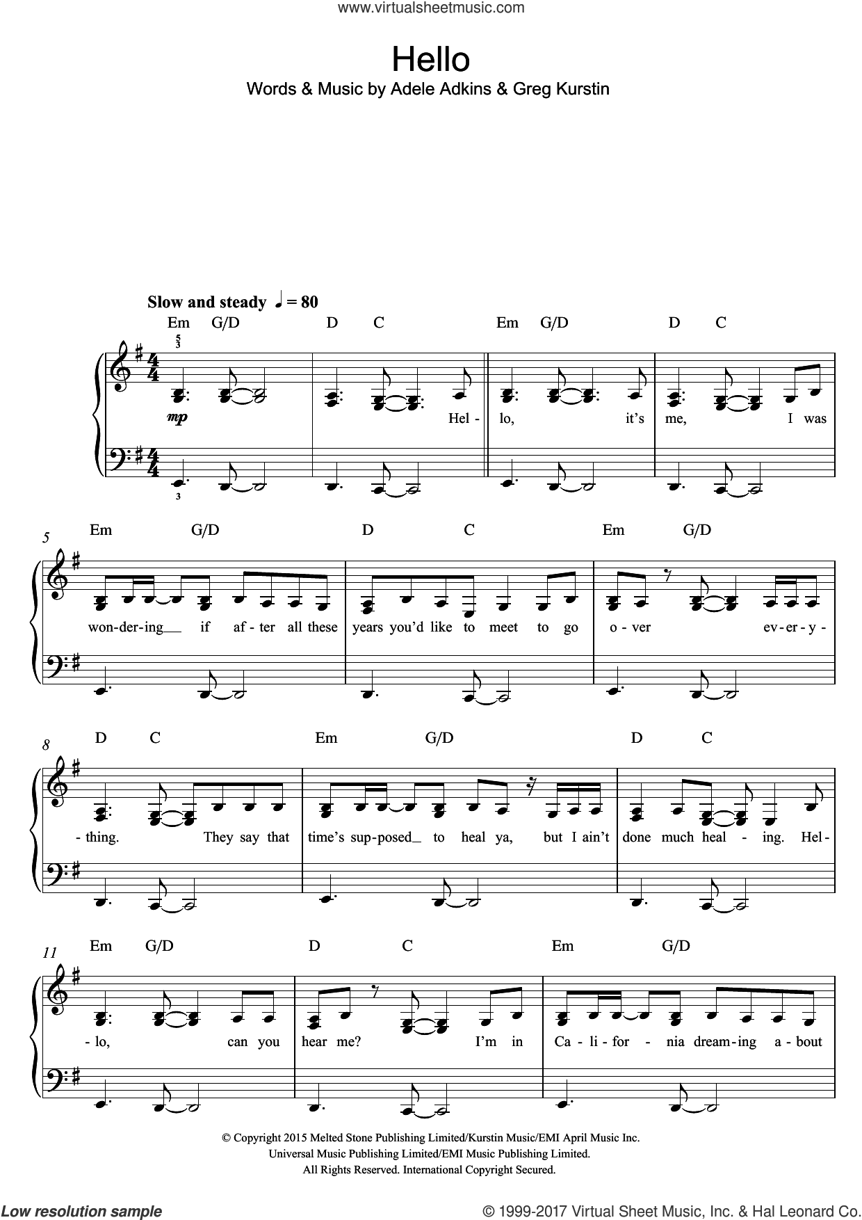 Hello sheet music for piano solo (beginners) by Greg Kurstin, Adele and Adele Adkins. Score Image Preview.