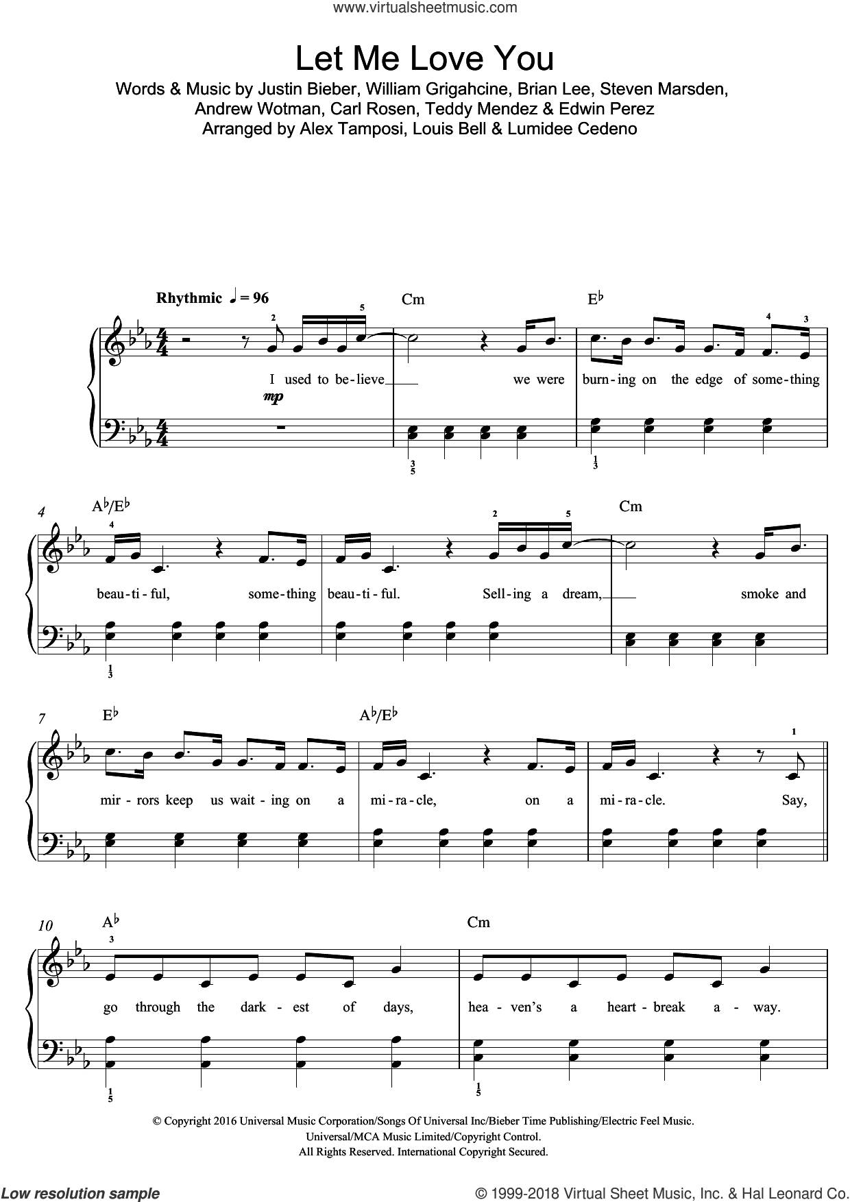 Let Me Love You (featuring Justin Bieber) sheet music for piano solo (beginners) by DJ Snake, Andrew Wotman, Brian Lee, Carl Rosen, Edwin Perez, Justin Bieber, Steven Marsden, Teddy Mendez and William Grigahcine, beginner piano (beginners)