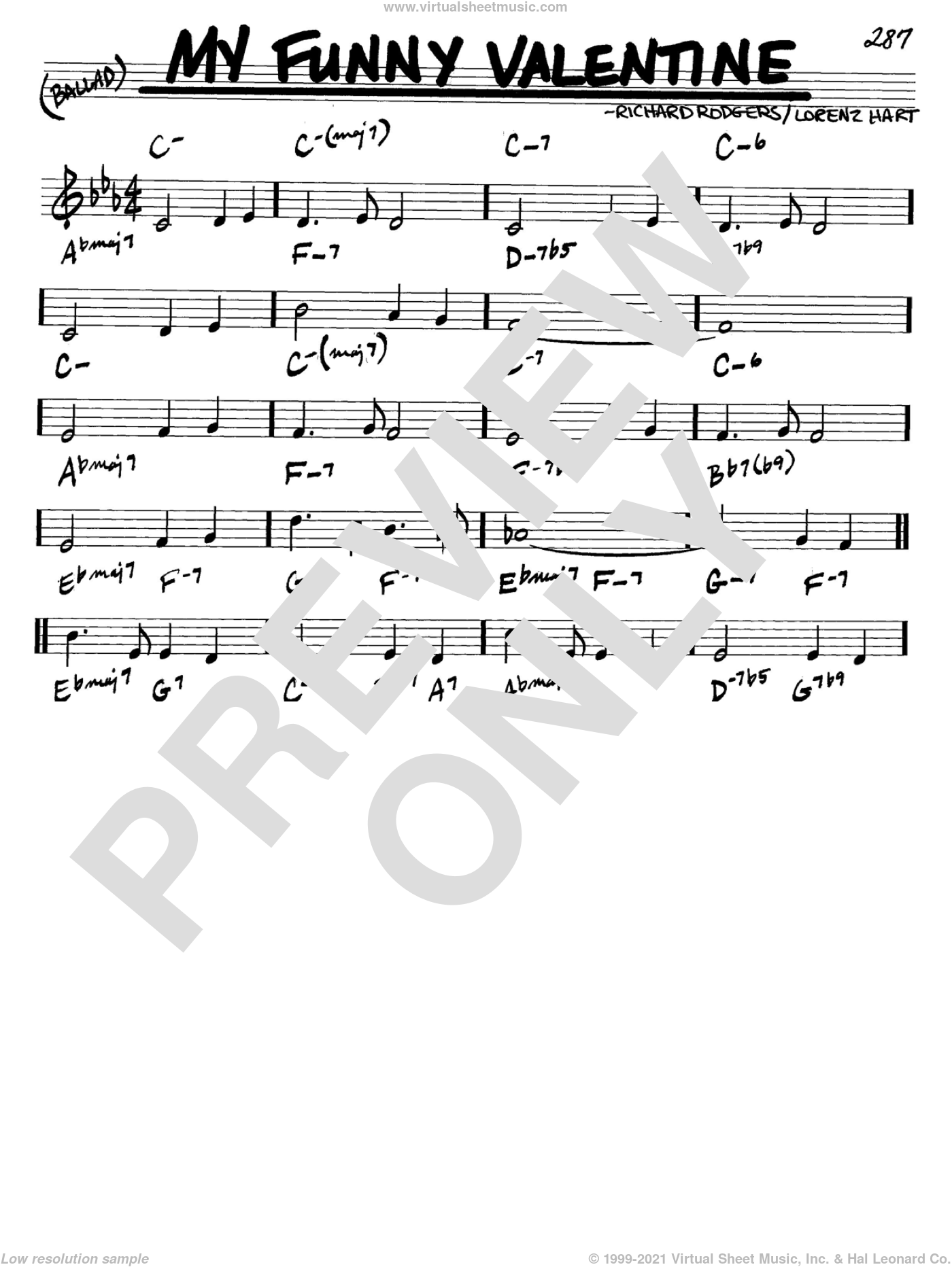 My Funny Valentine sheet music for voice and other instruments (C) by Richard Rodgers