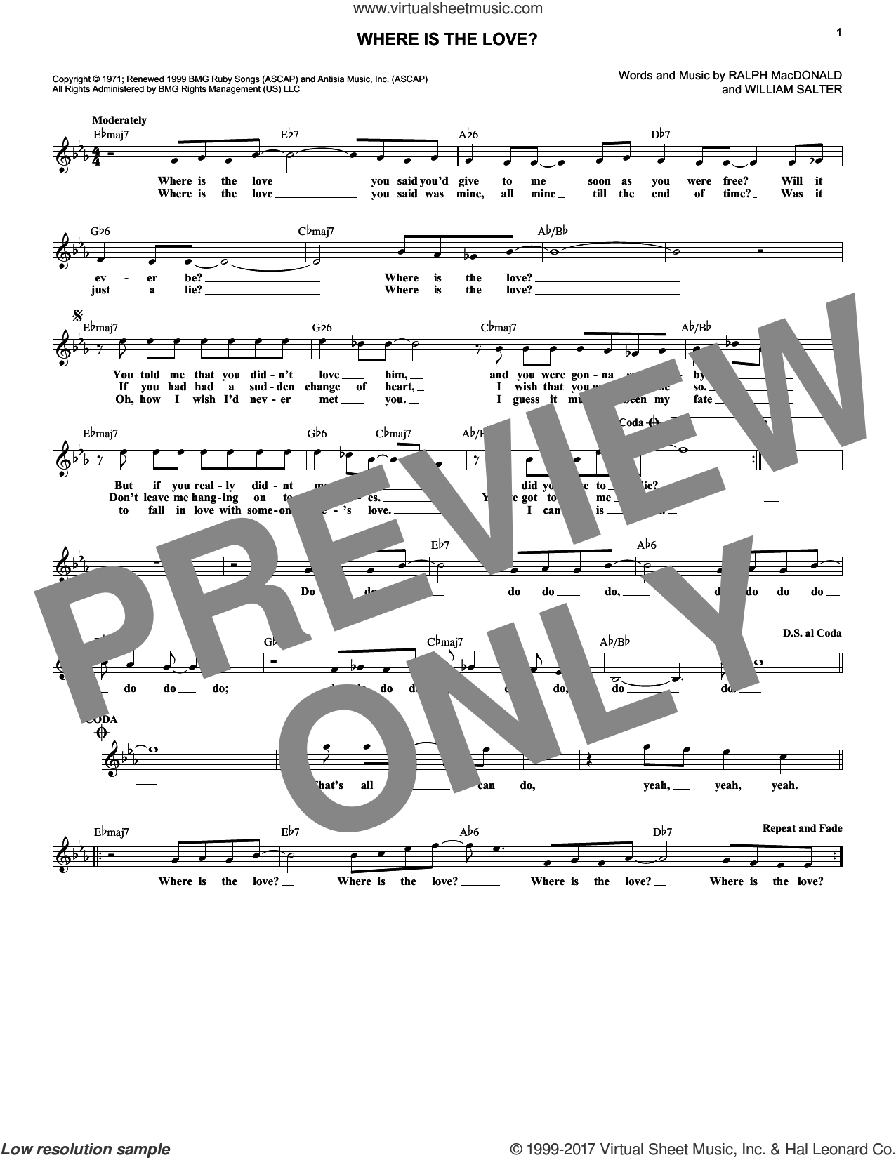 Where Is The Love? sheet music for voice and other instruments (fake book) by Roberta Flack and Donny Hathaway, Ralph MacDonald and William Salter, intermediate