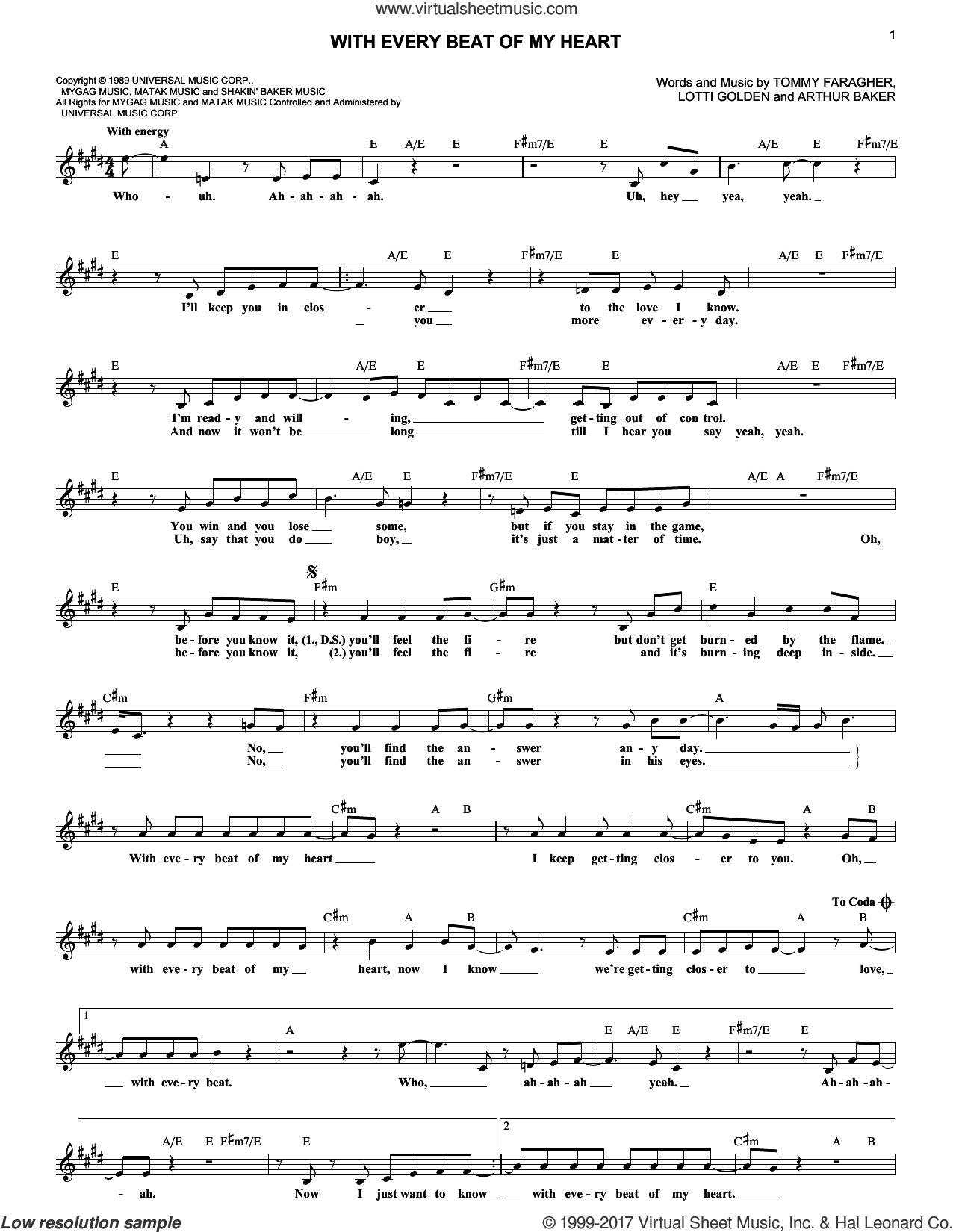 With Every Beat Of My Heart sheet music for voice and other instruments (fake book) by Taylor Dane, Arthur Baker, Lotti Golden and Tommy Faragher, intermediate skill level