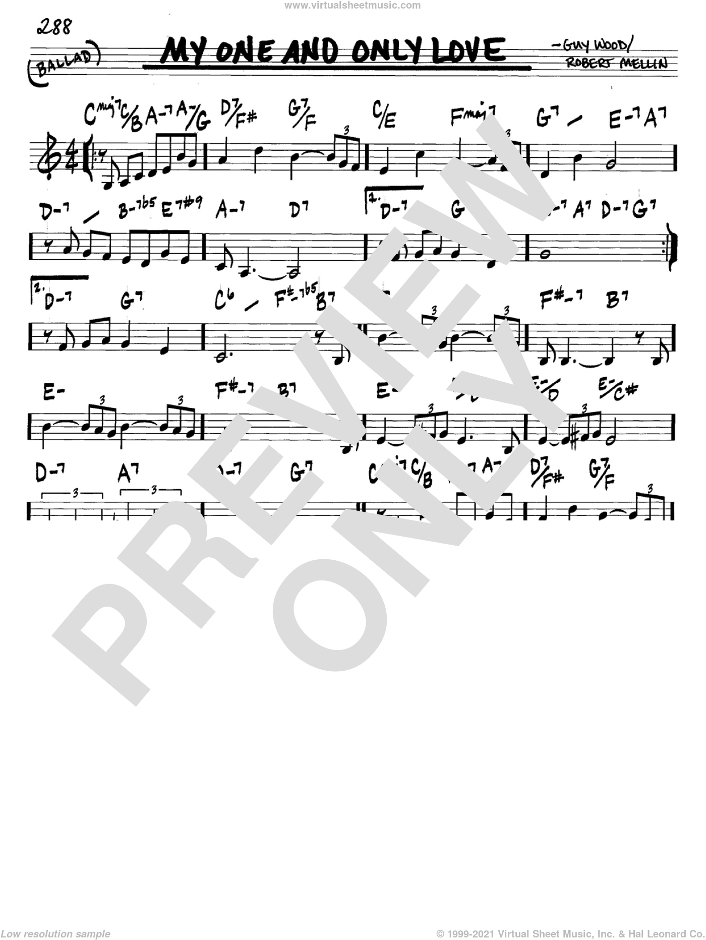 My One And Only Love sheet music for voice and other instruments (C) by Guy Wood