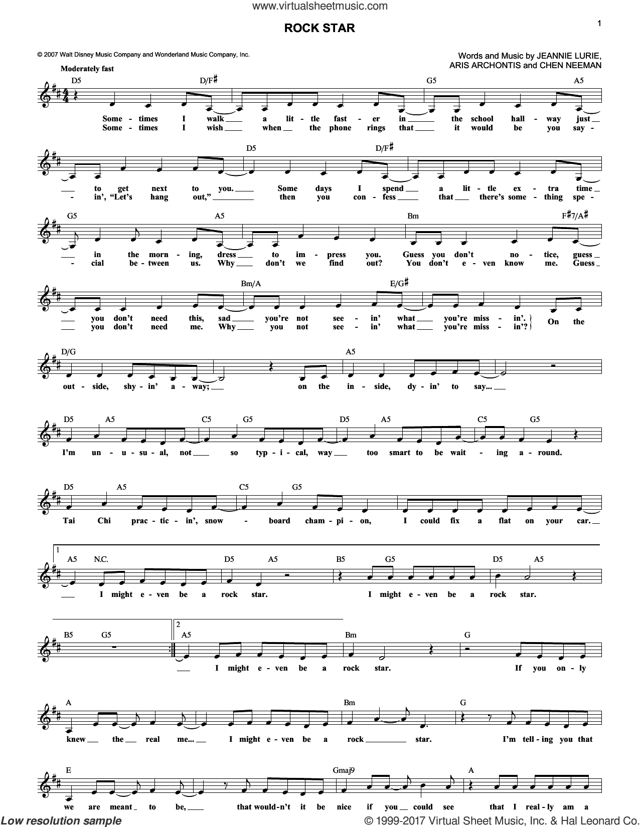 Rock Star sheet music for voice and other instruments (fake book) by Hannah Montana, Aris Archontis, Chen Neeman and Jeannie Lurie, intermediate skill level