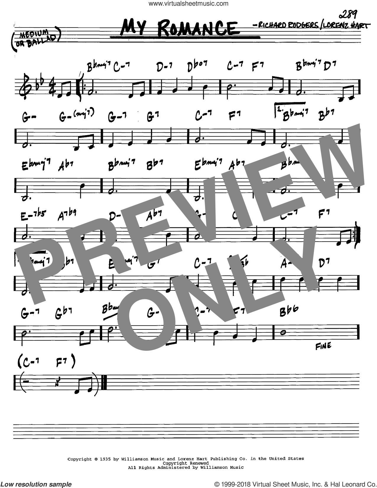 My Romance sheet music for voice and other instruments (C) by Richard Rodgers, Rodgers & Hart and Lorenz Hart. Score Image Preview.