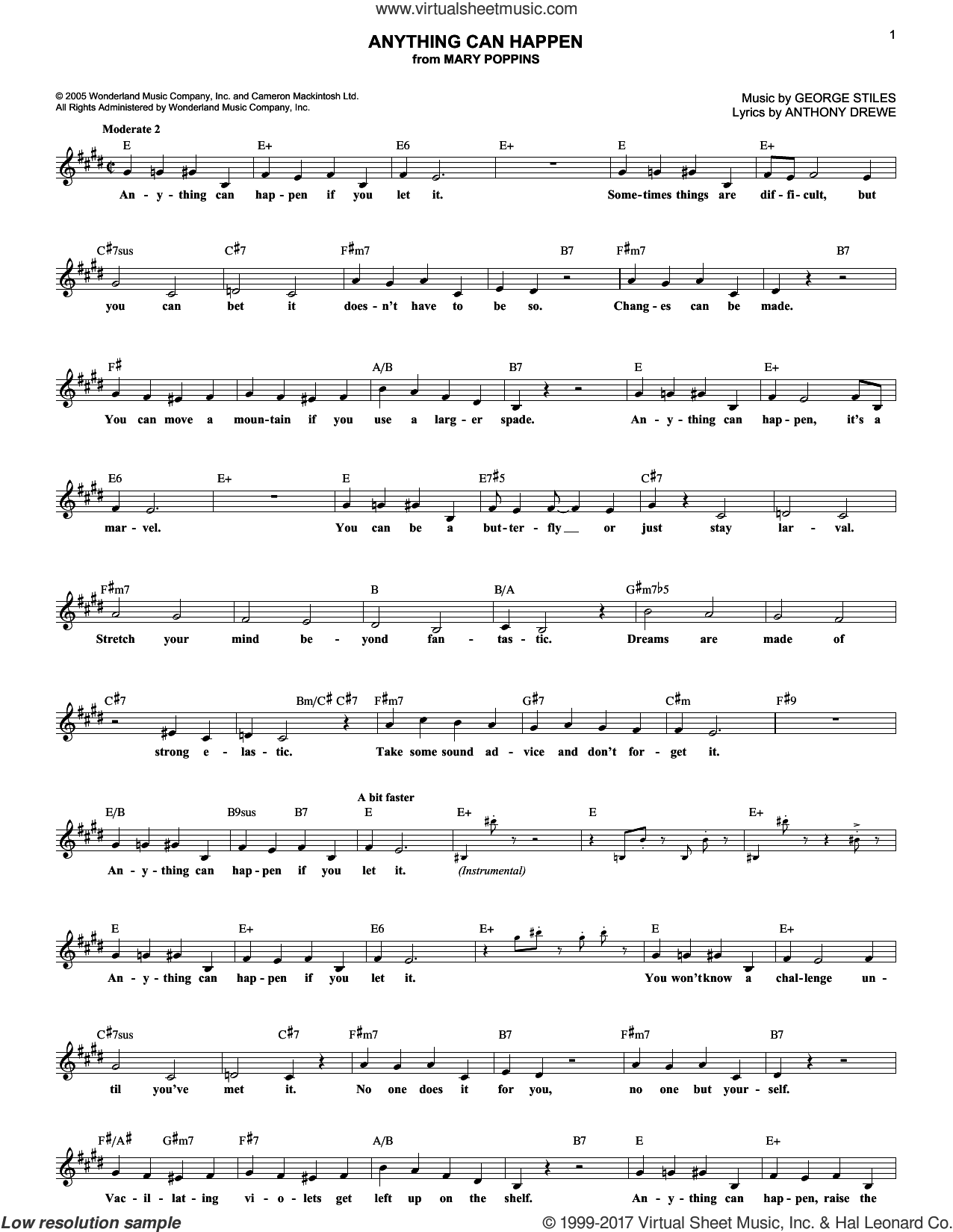 Anything Can Happen sheet music for voice and other instruments (fake book) by George Stiles and Anthony Drewe. Score Image Preview.