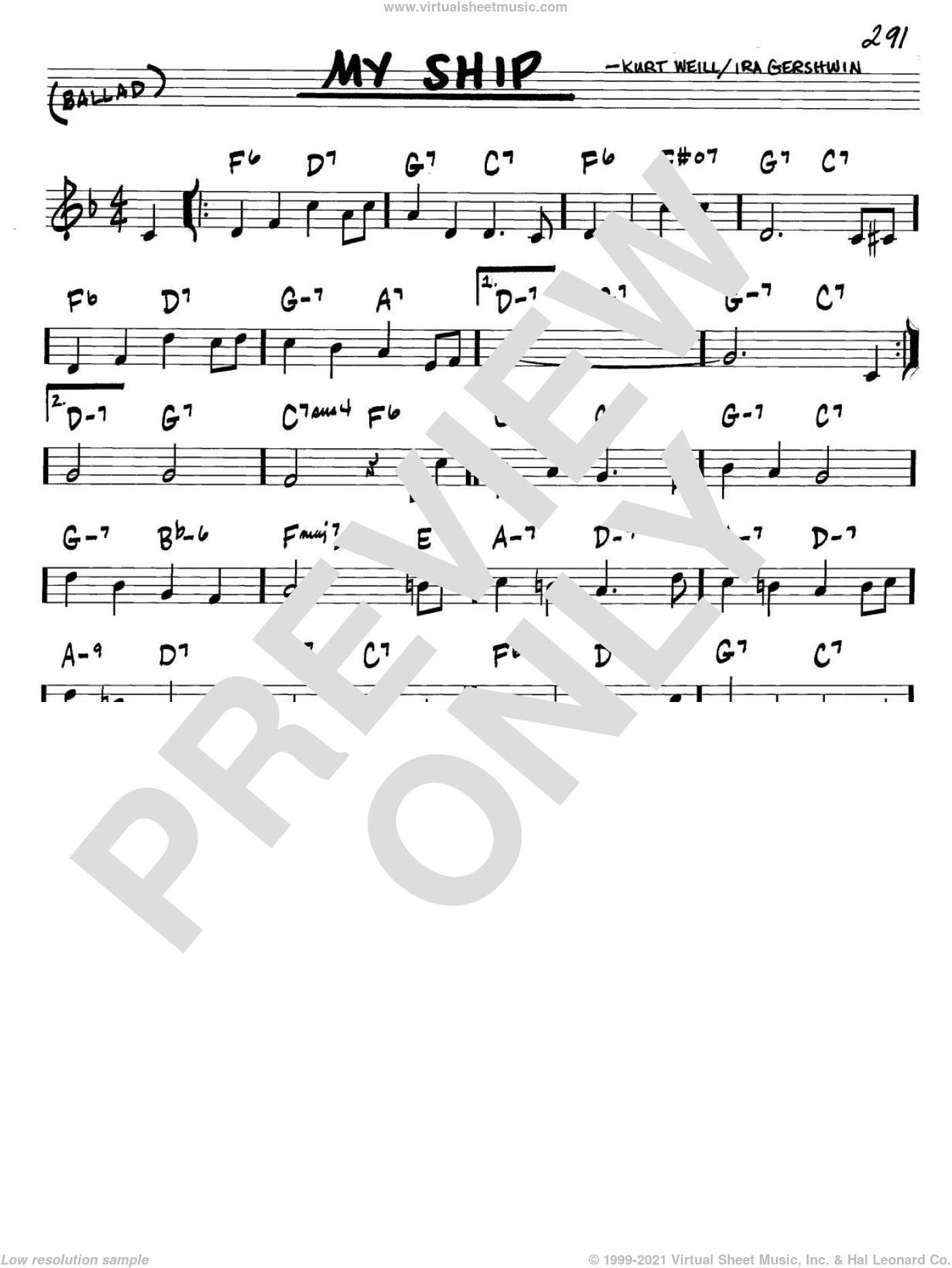 My Ship sheet music for voice and other instruments (C) by Ira Gershwin and Kurt Weill. Score Image Preview.