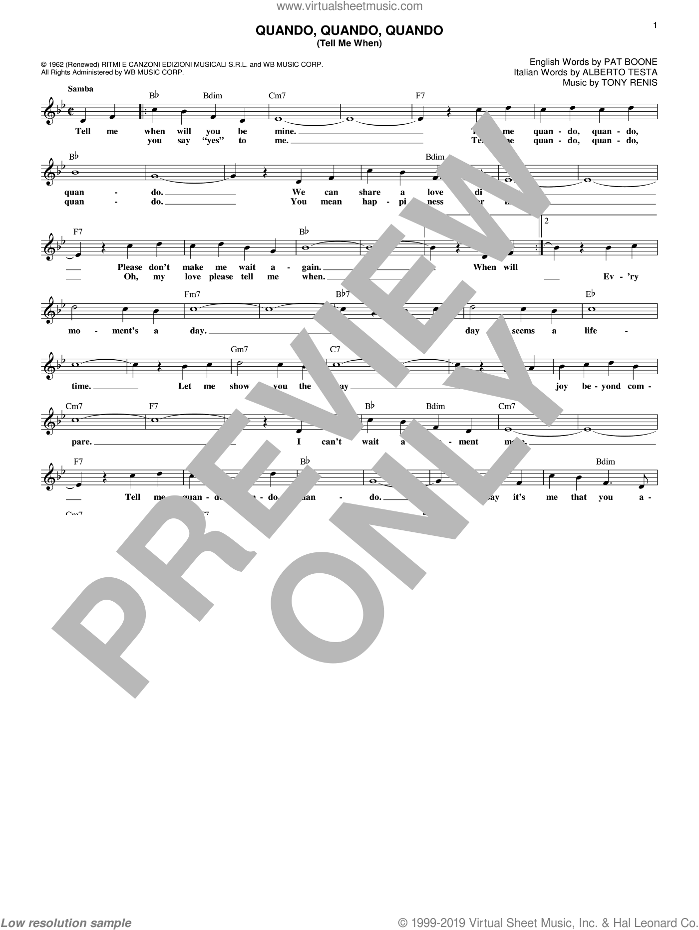 Quando, Quando, Quando (Tell Me When) sheet music for voice and other instruments (fake book) by Alberto Testa, Pat Boone and Tony Renis, intermediate skill level