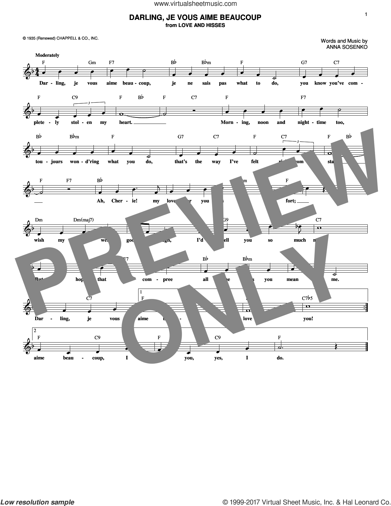 Darling, Je Vous Aime Beaucoup sheet music for voice and other instruments (fake book) by Anna Sosenko, Hildegarde, Nat King Cole and Simone Simone, intermediate. Score Image Preview.