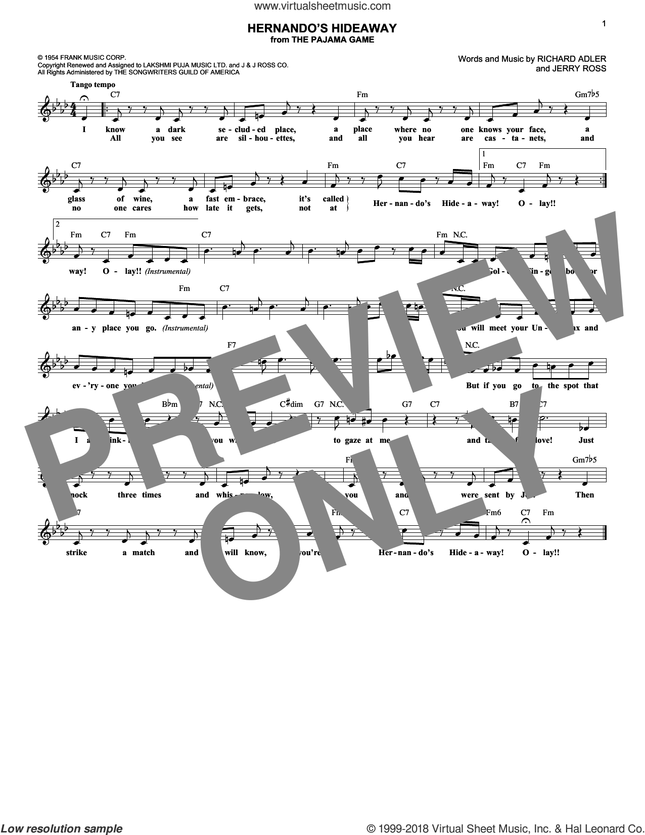 Hernando's Hideaway sheet music for voice and other instruments (fake book) by Jerry Ross and Richard Adler, intermediate skill level