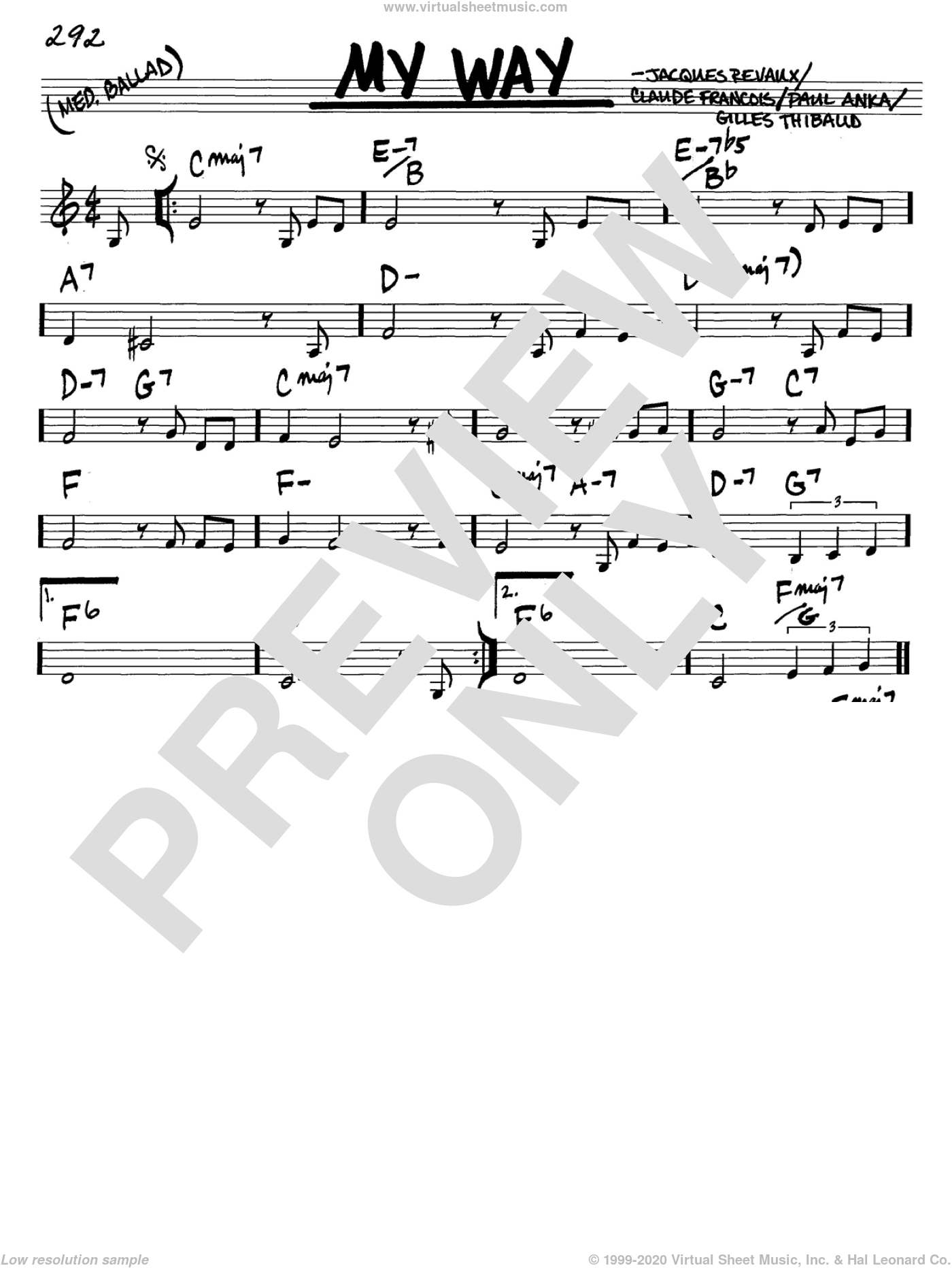 My Way sheet music for voice and other instruments (C) by Jacques Revaux, Elvis Presley, Frank Sinatra, Claude Francois and Paul Anka. Score Image Preview.