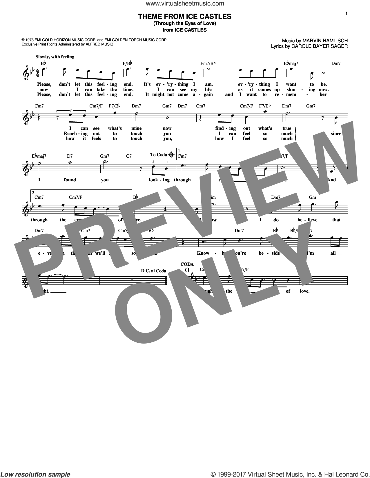 Theme From Ice Castles (Through The Eyes Of Love) sheet music for voice and other instruments (fake book) by Carole Bayer Sager and Marvin Hamlisch, intermediate. Score Image Preview.