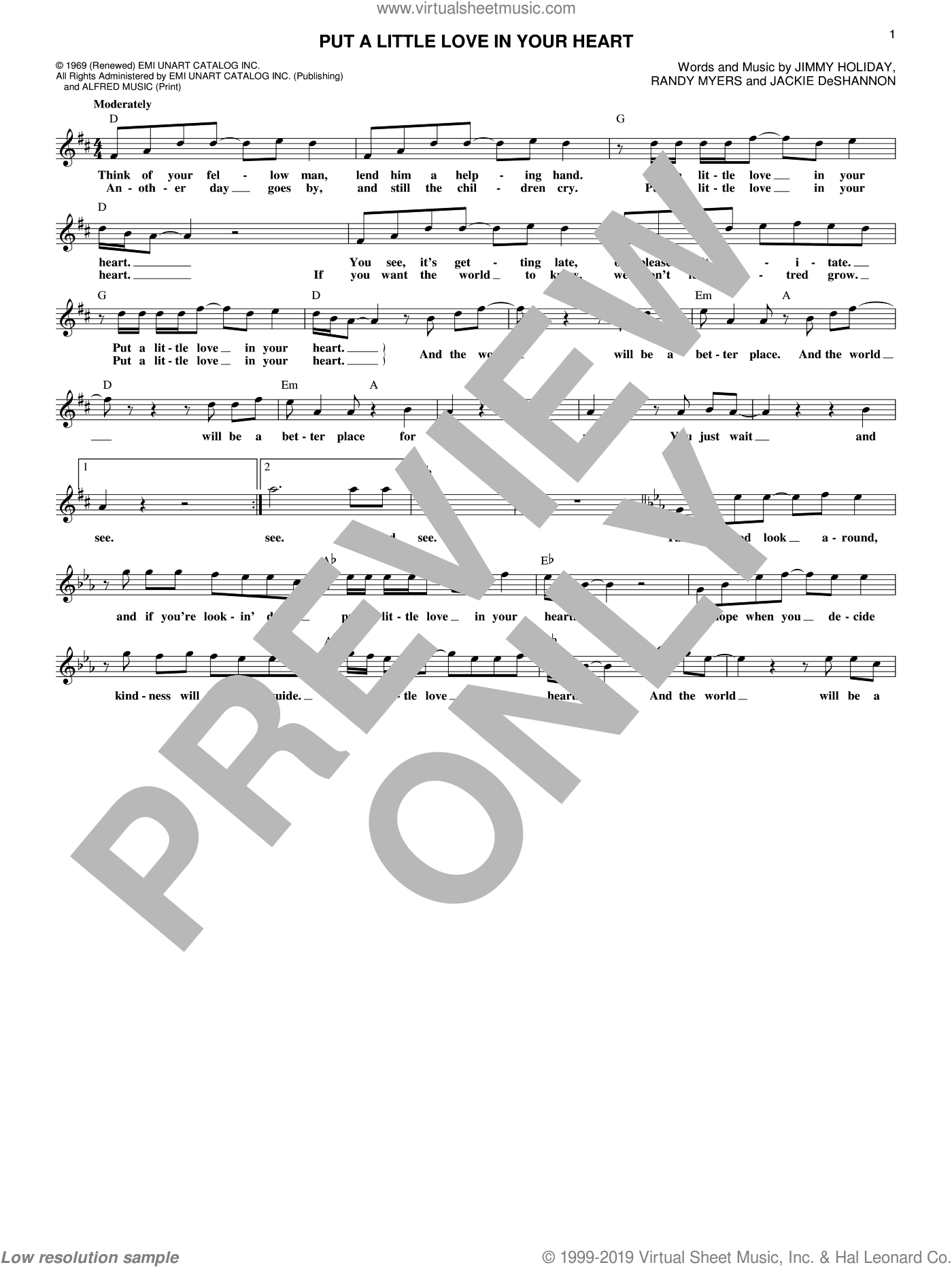 Put A Little Love In Your Heart sheet music for voice and other instruments (fake book) by Jackie DeShannon, Jimmy Holiday and Randy Myers, intermediate skill level