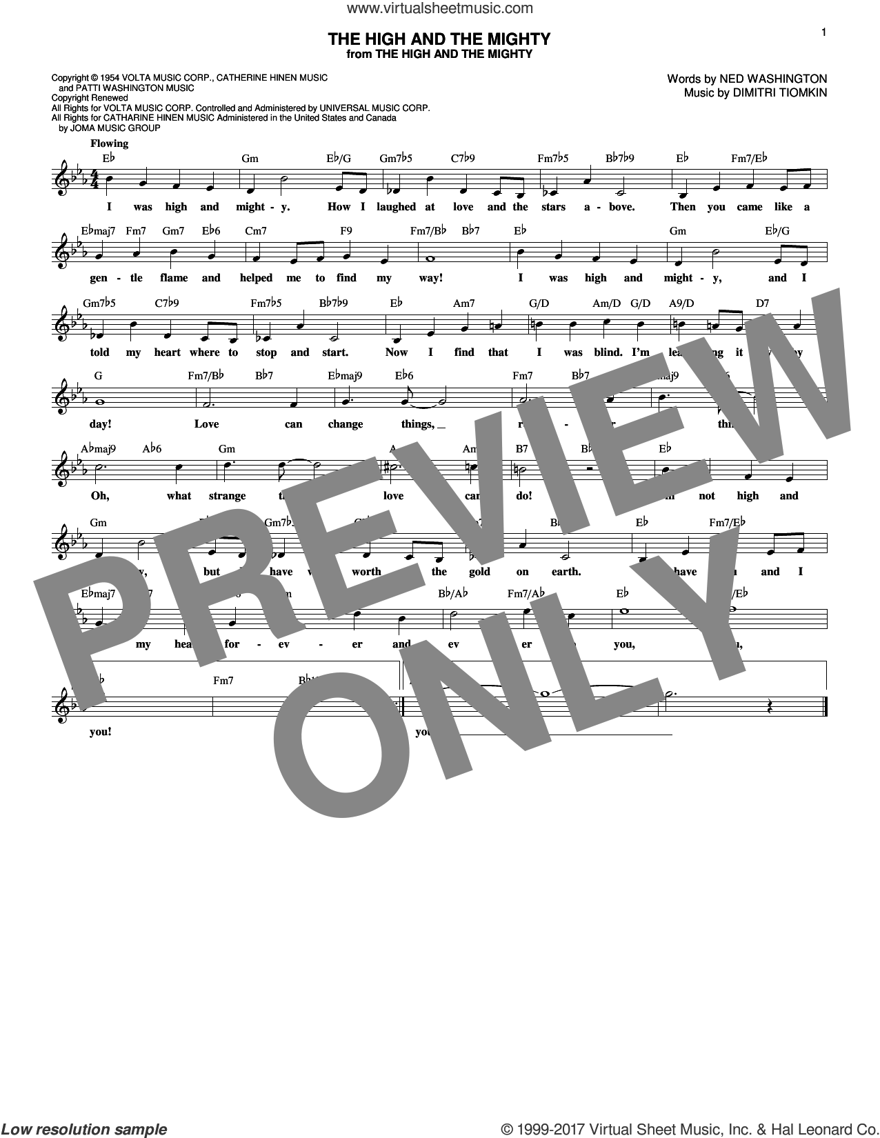 The High And The Mighty sheet music for voice and other instruments (fake book) by Dimitri Tiomkin and Ned Washington. Score Image Preview.