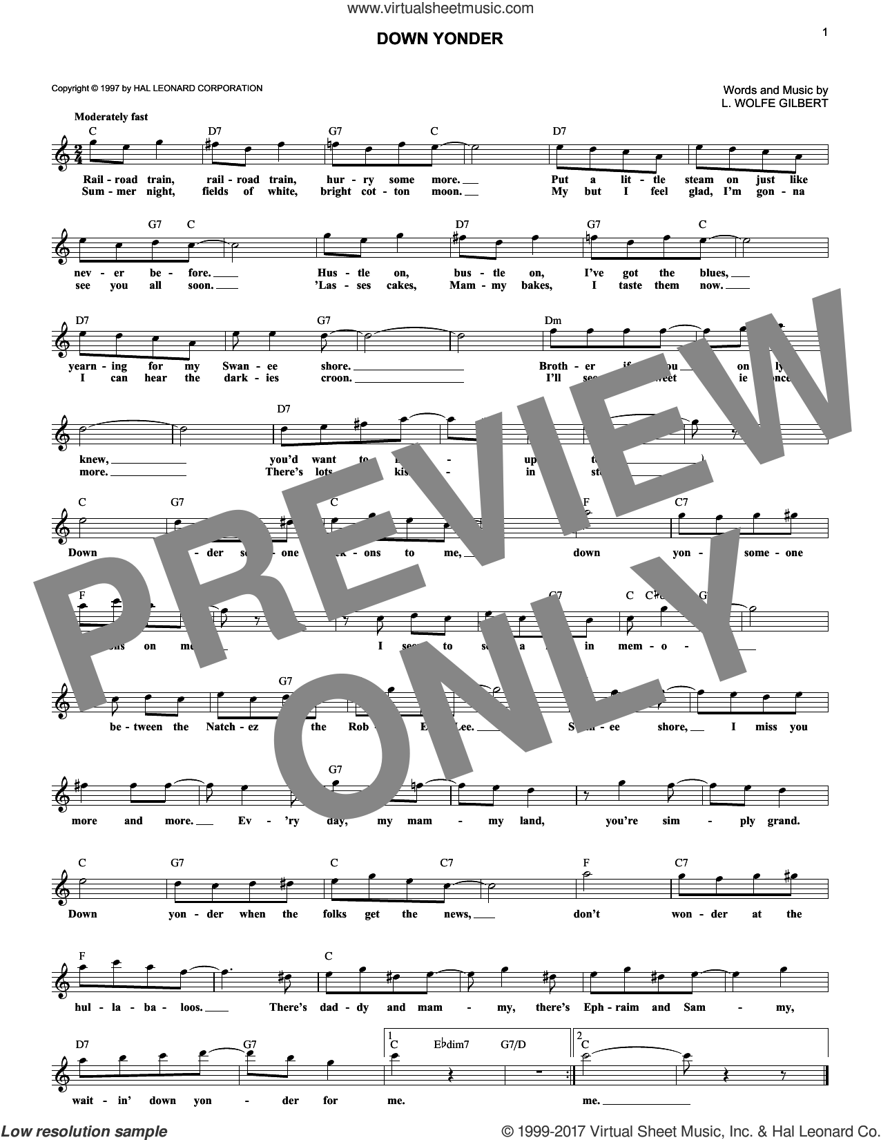 Down Yonder sheet music for voice and other instruments (fake book) by L. Wolfe Gilbert. Score Image Preview.