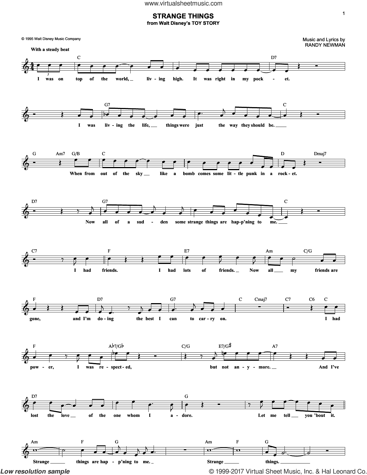 Strange Things sheet music for voice and other instruments (fake book) by Randy Newman, intermediate. Score Image Preview.