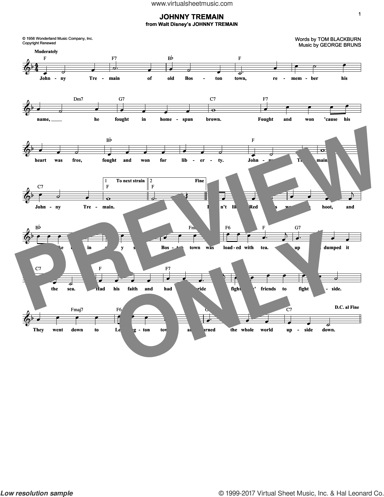 Johnny Tremain sheet music for voice and other instruments (fake book) by George Bruns and Tom Blackburn, intermediate skill level