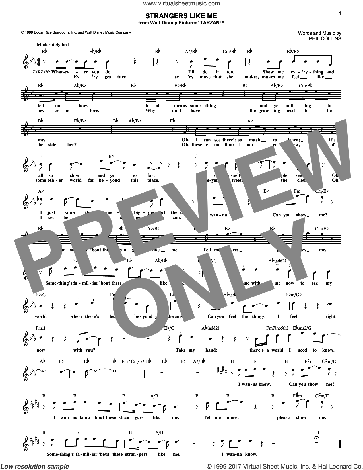 Strangers Like Me sheet music for voice and other instruments (fake book) by Phil Collins, intermediate skill level